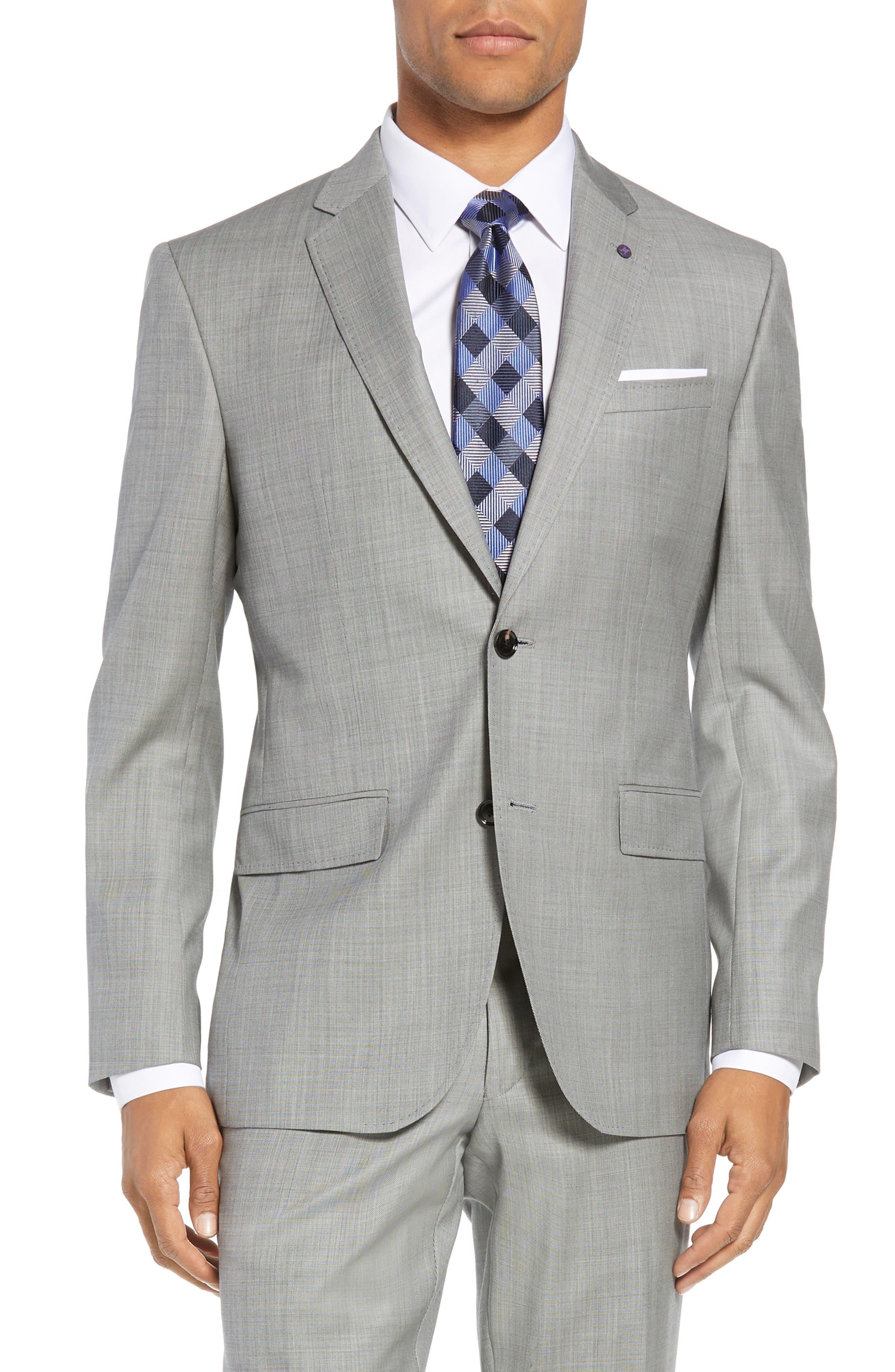 Jay Trim Fit Solid Wool Suit,                             Alternate thumbnail 5, color,                             LIGHT GREY