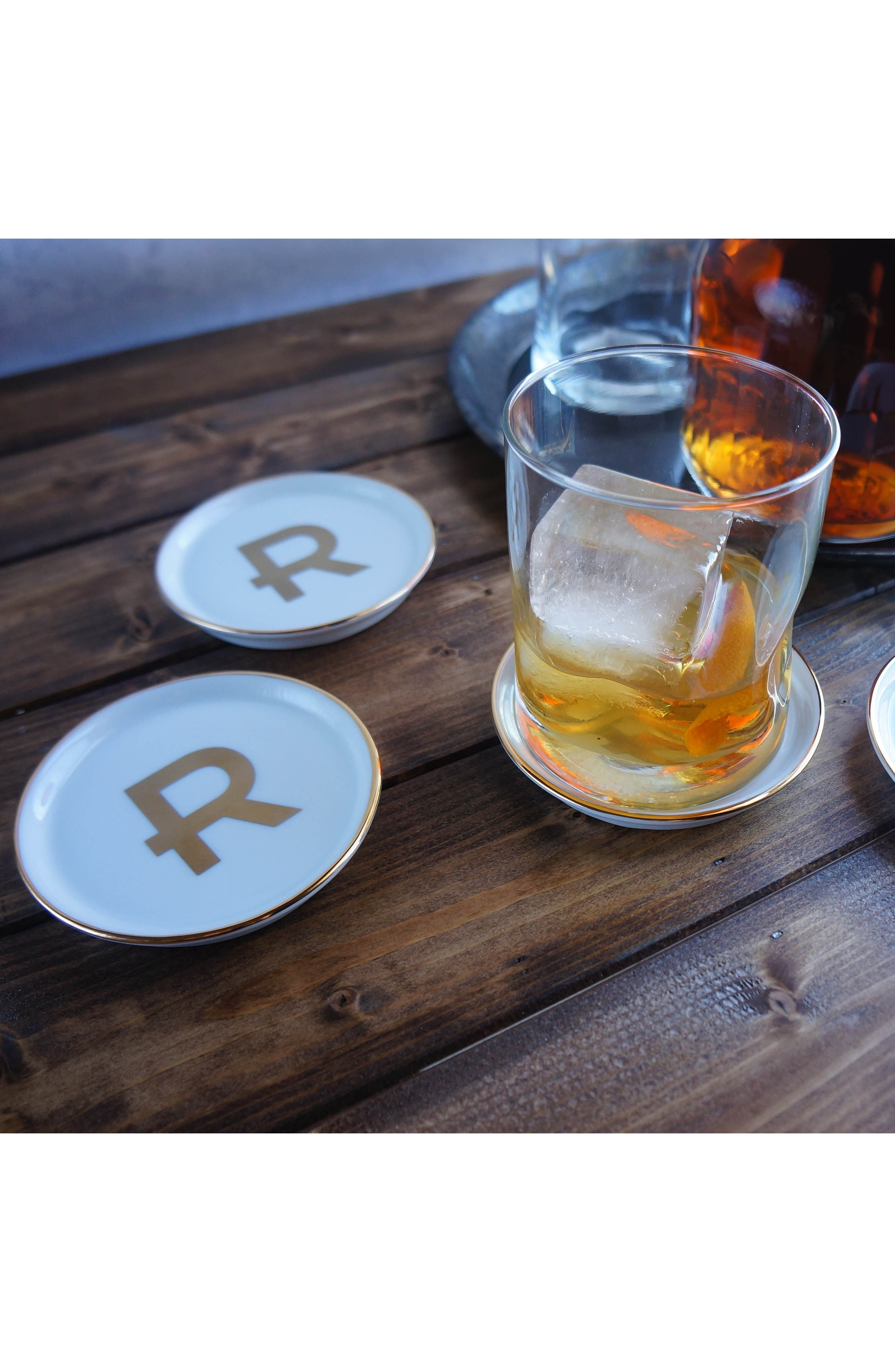 Brooklyn Set of 4 Porcelain Initial Coasters,                             Alternate thumbnail 2, color,                             A