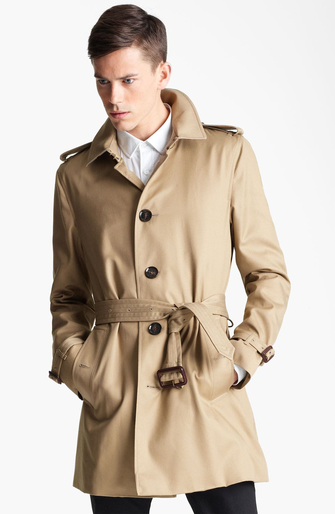 London 'Britton' Single Breasted Trench Coat,                             Main thumbnail 1, color,                             250
