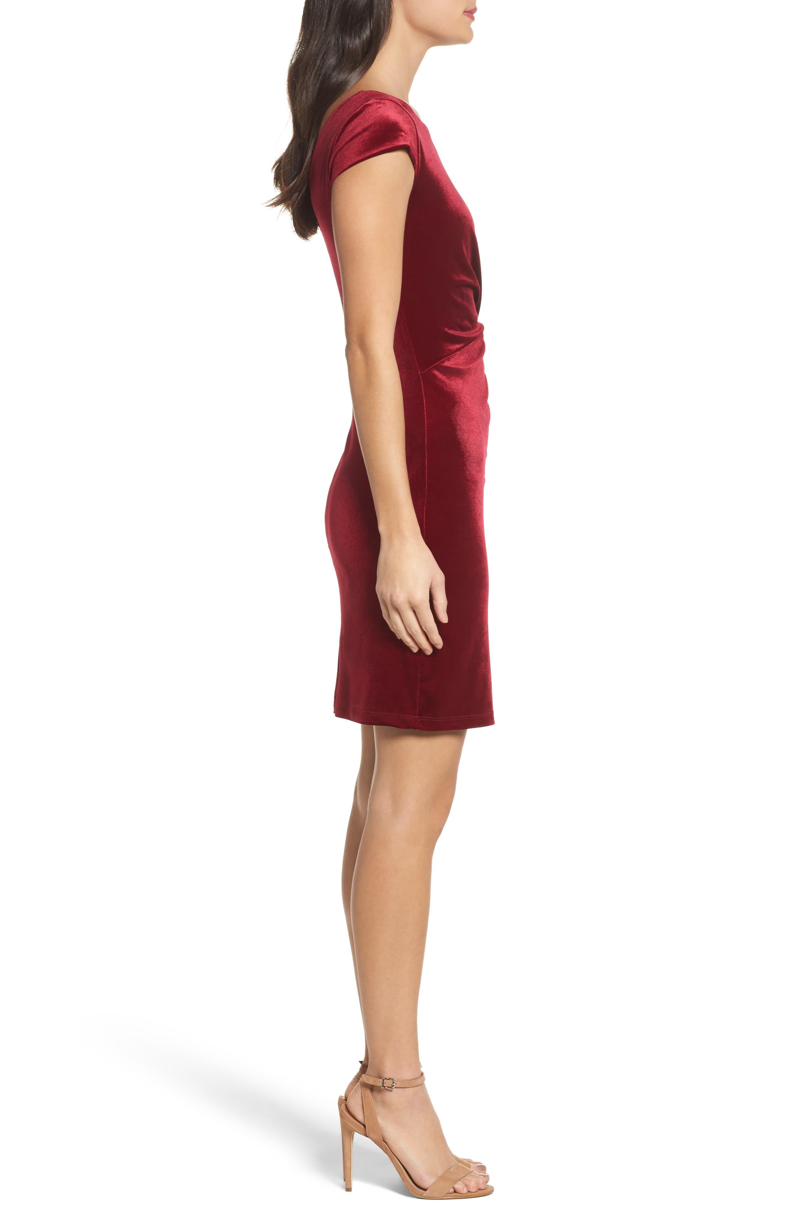 Pleat Side Velvet Dress,                             Alternate thumbnail 3, color,                             935