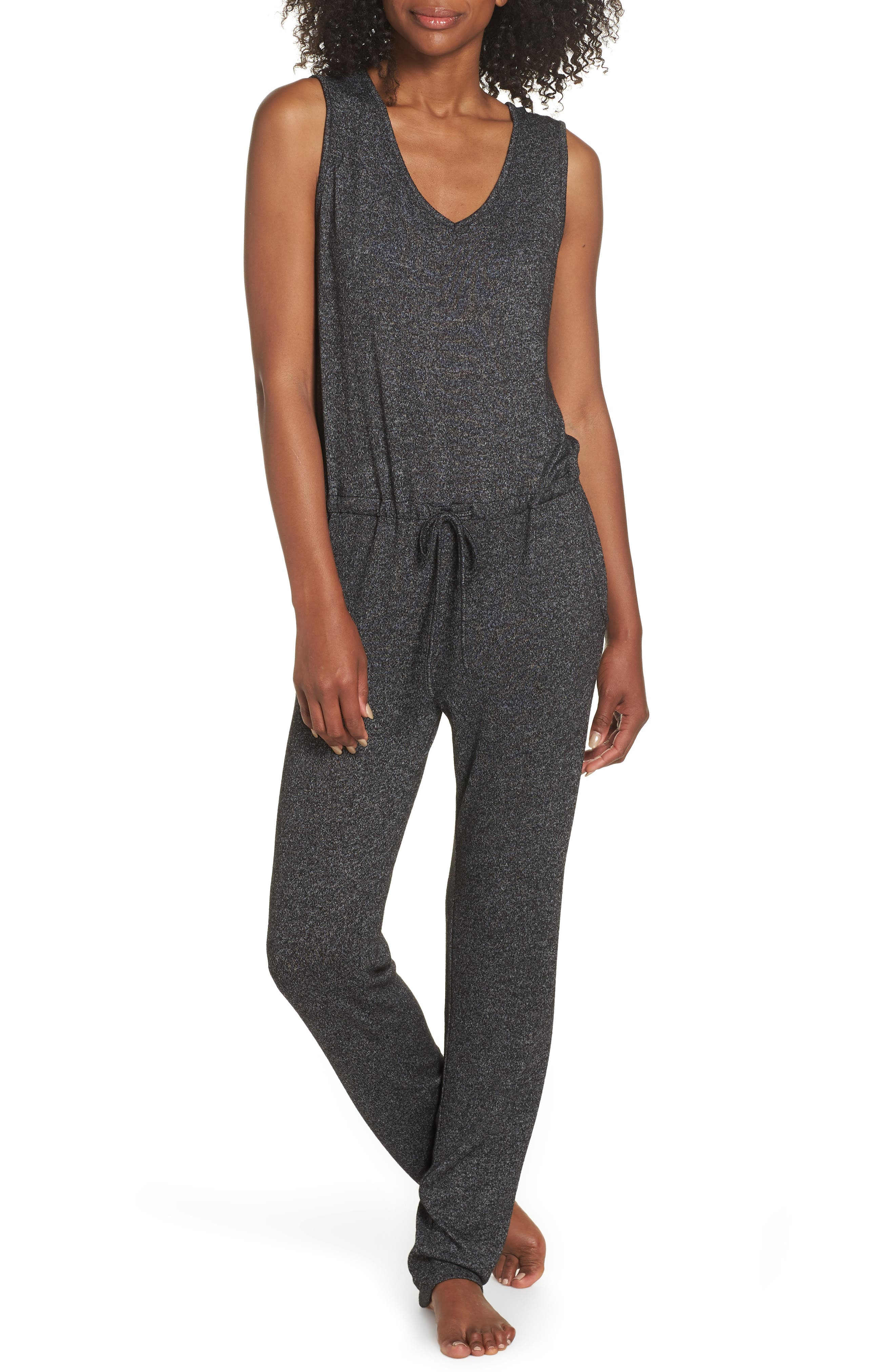Charlize Lounge Jumpsuit,                         Main,                         color, BLACK