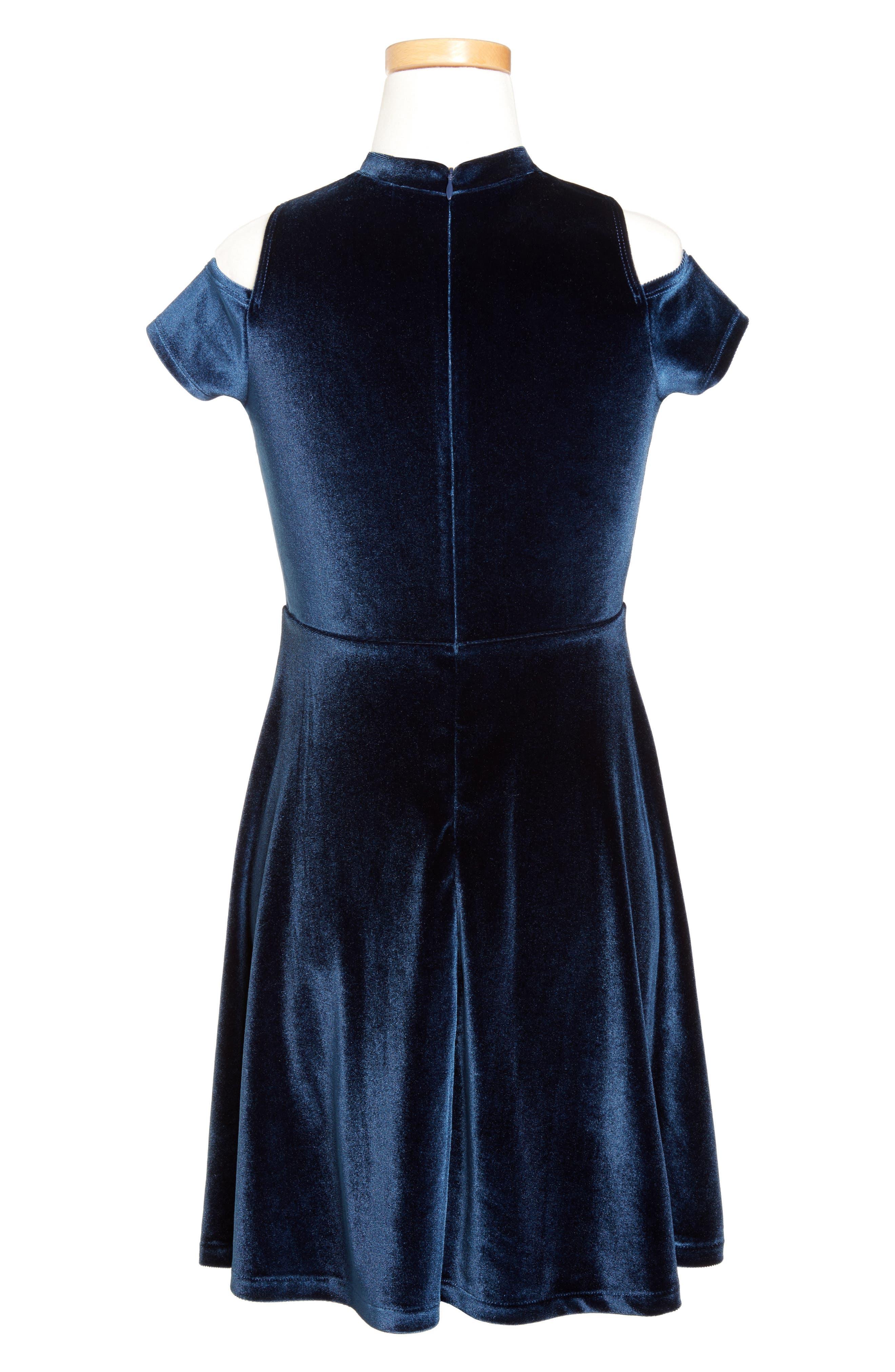 Velour Cold Shoulder Dress,                             Alternate thumbnail 2, color,                             401