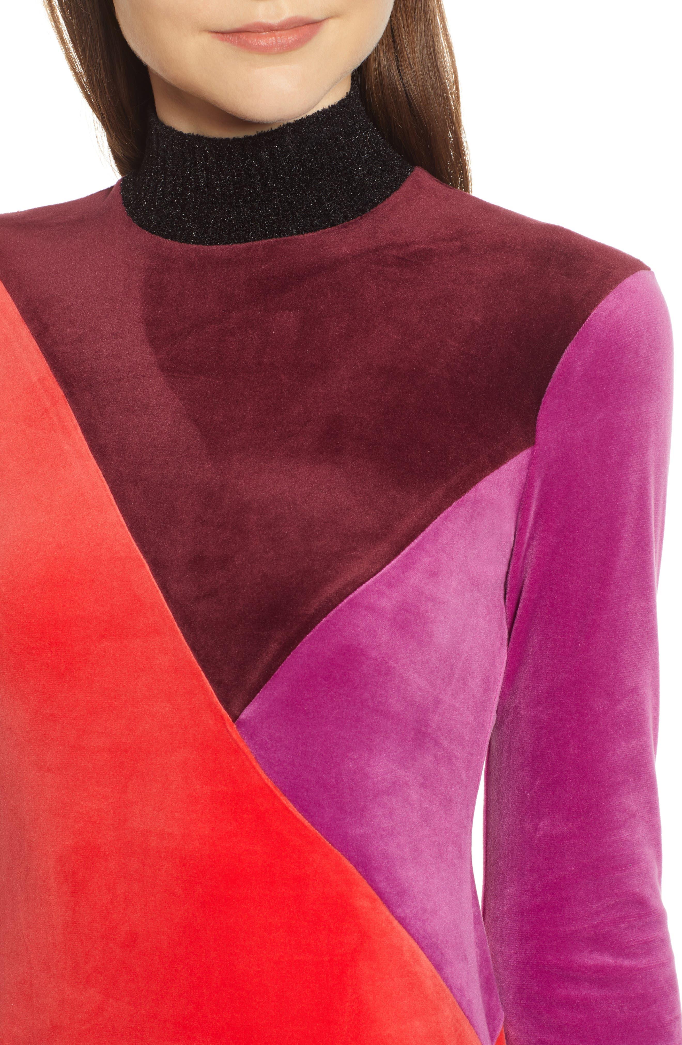 Velluto Velour Midi Dress,                             Alternate thumbnail 4, color,                             BORGOGNA