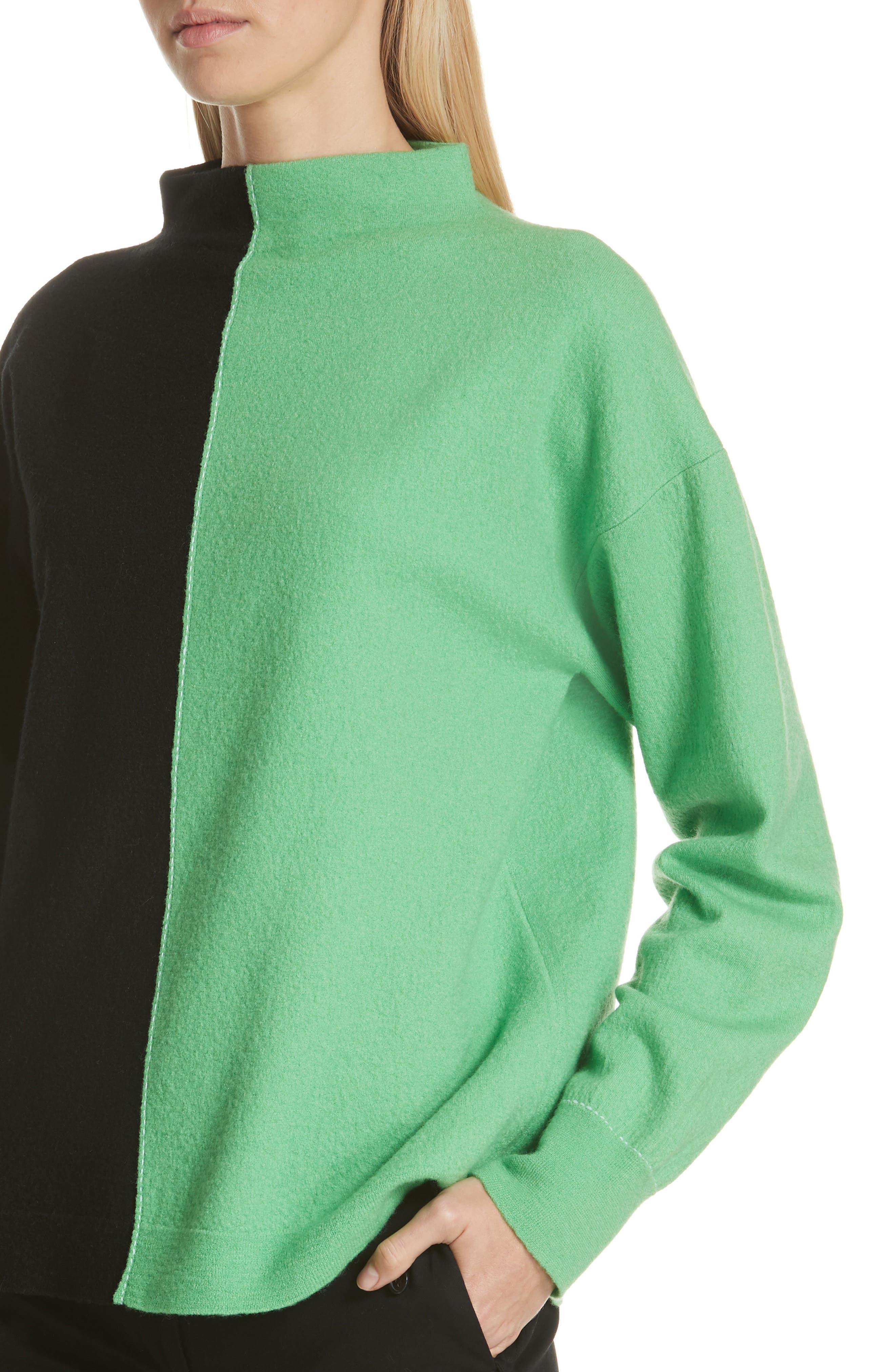 Bicolor Boiled Wool Sweater,                             Alternate thumbnail 4, color,                             BLACK/ GREEN