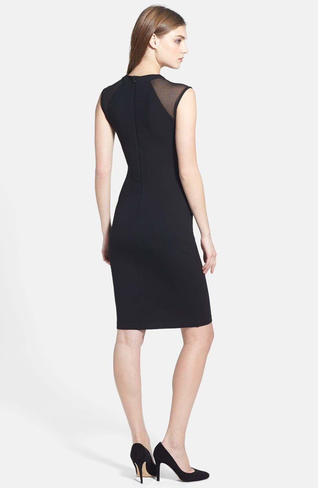 FRENCH CONNECTION,                             'Viven' Mesh Paneled Sheath Dress,                             Alternate thumbnail 2, color,                             001