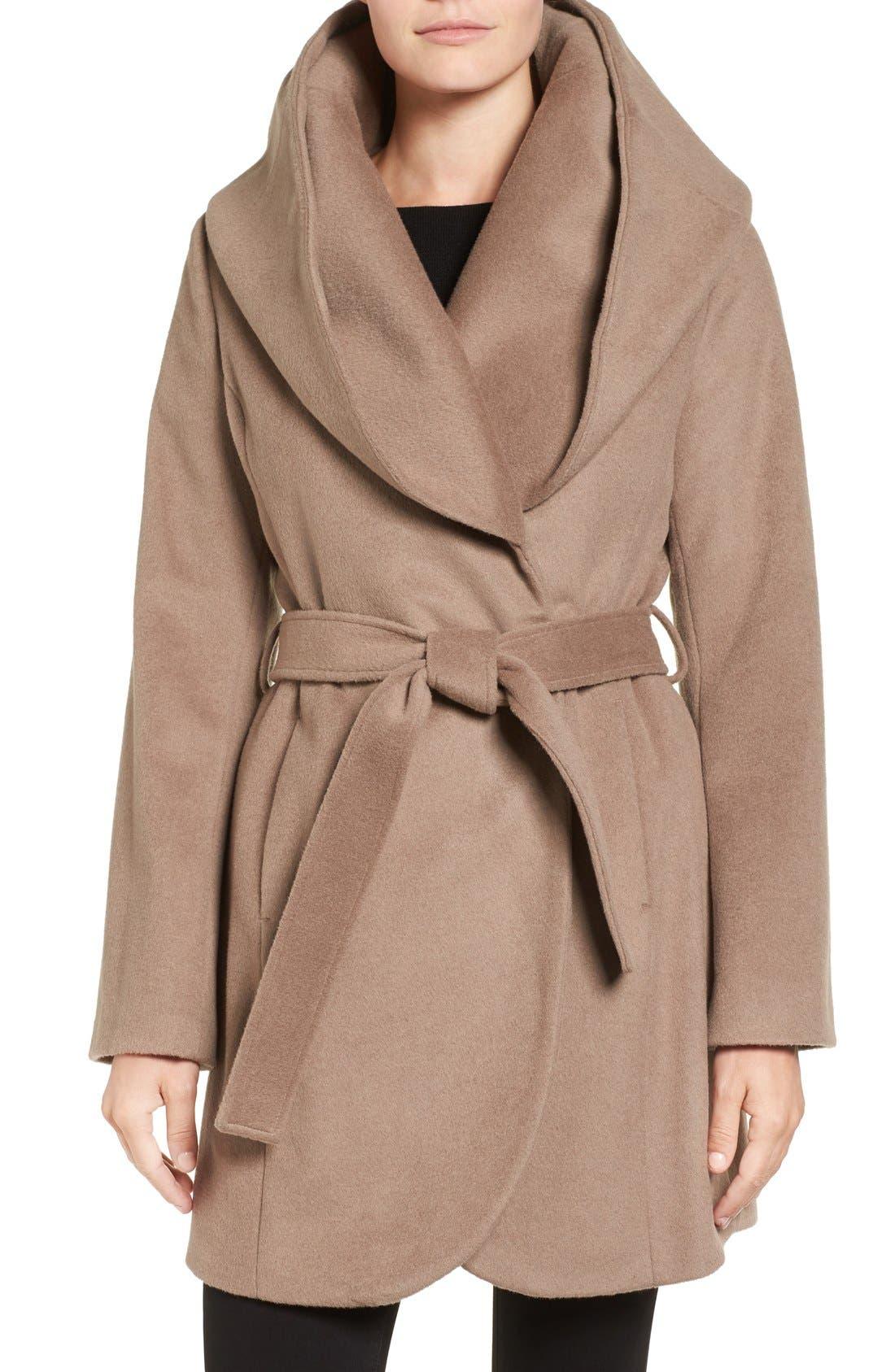 T Tahari Wool Blend Belted Wrap Coat,                             Main thumbnail 4, color,