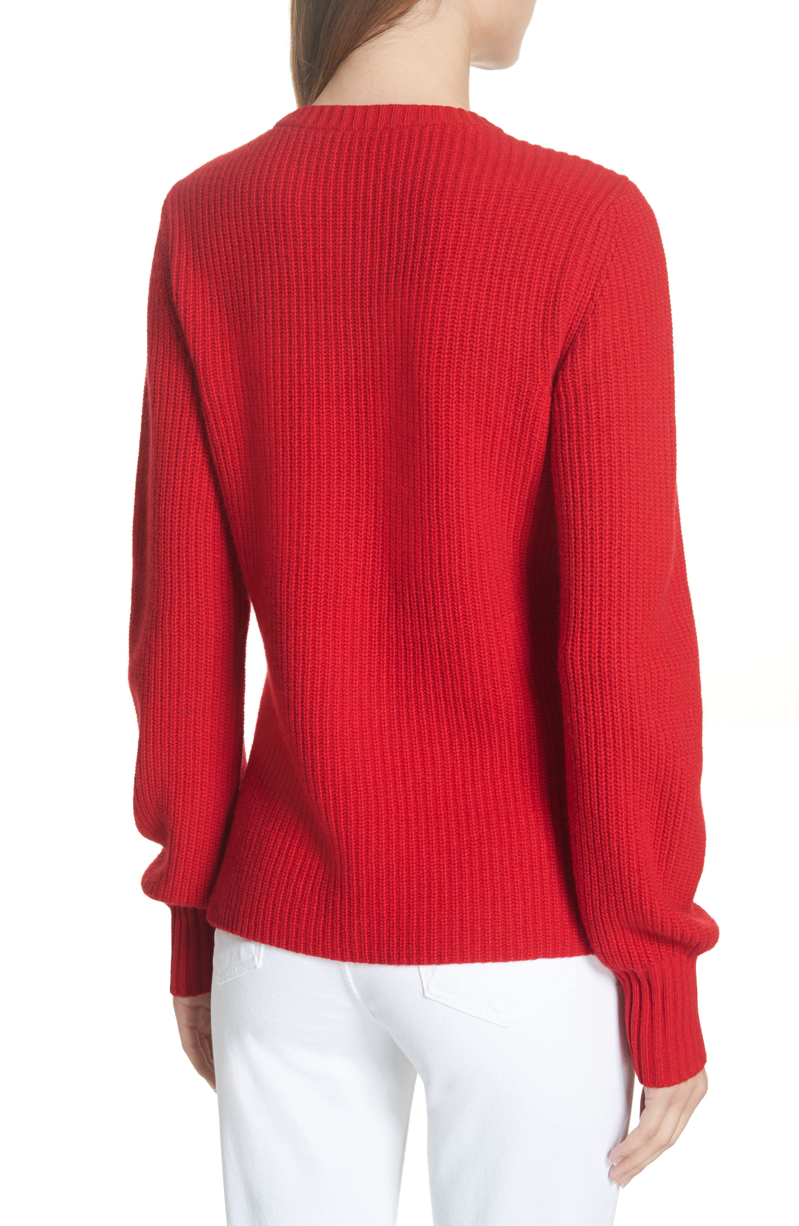 Kennedy Shaker Stitch Sweater,                             Alternate thumbnail 2, color,                             TRUE RED