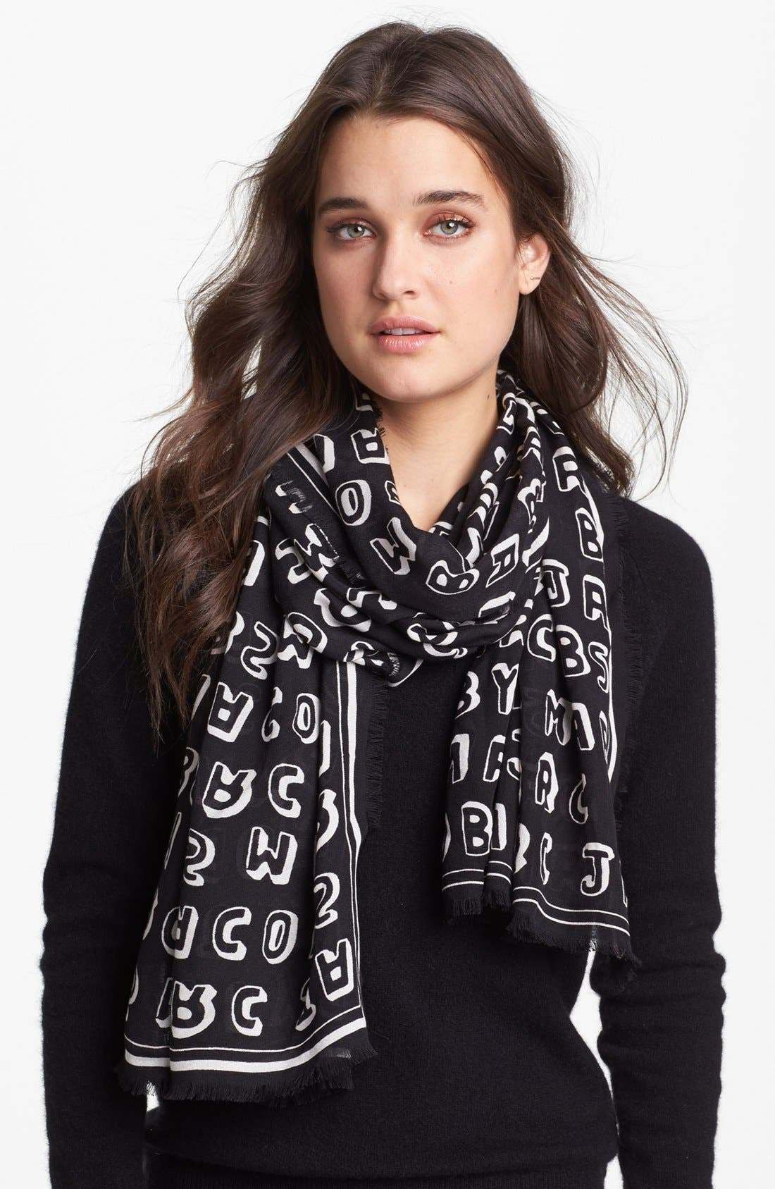 MARC BY MARC JACOBS 'Dynamite' Logo Scarf, Main, color, 002