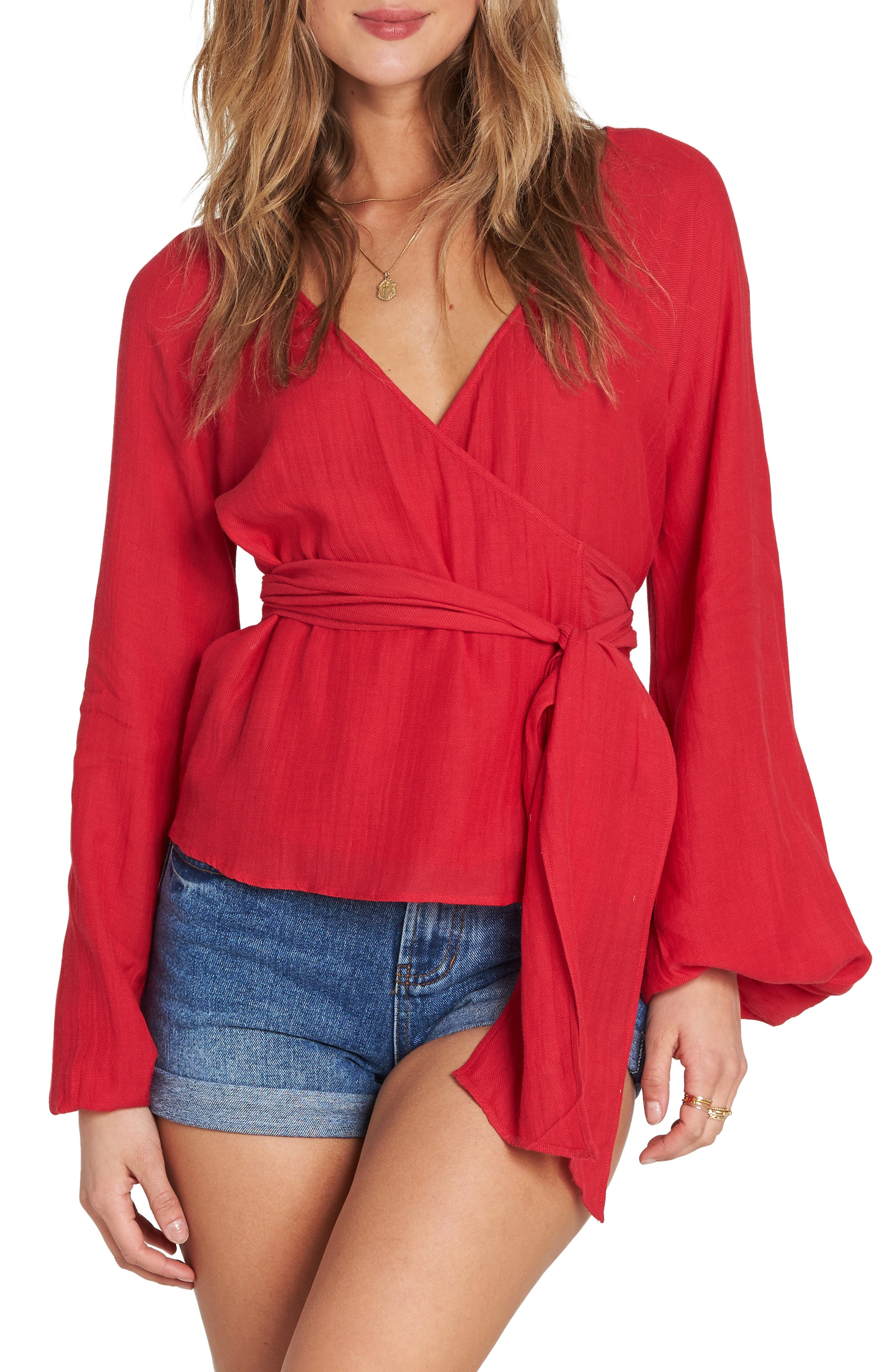 Shine On Bell Sleeve Wrap Top,                             Main thumbnail 1, color,                             600