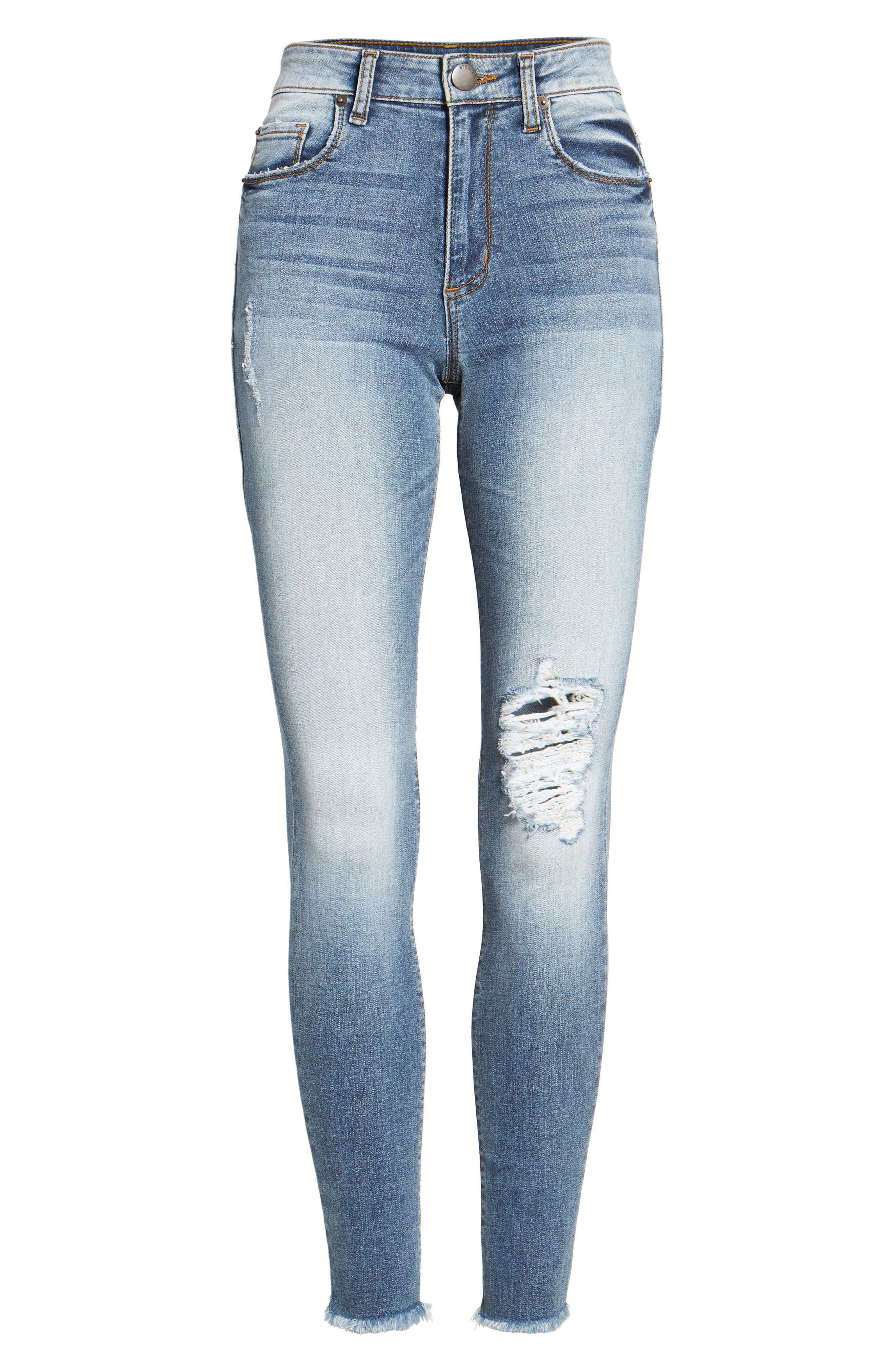 Emma Distressed Skinny Jeans,                             Alternate thumbnail 7, color,                             400