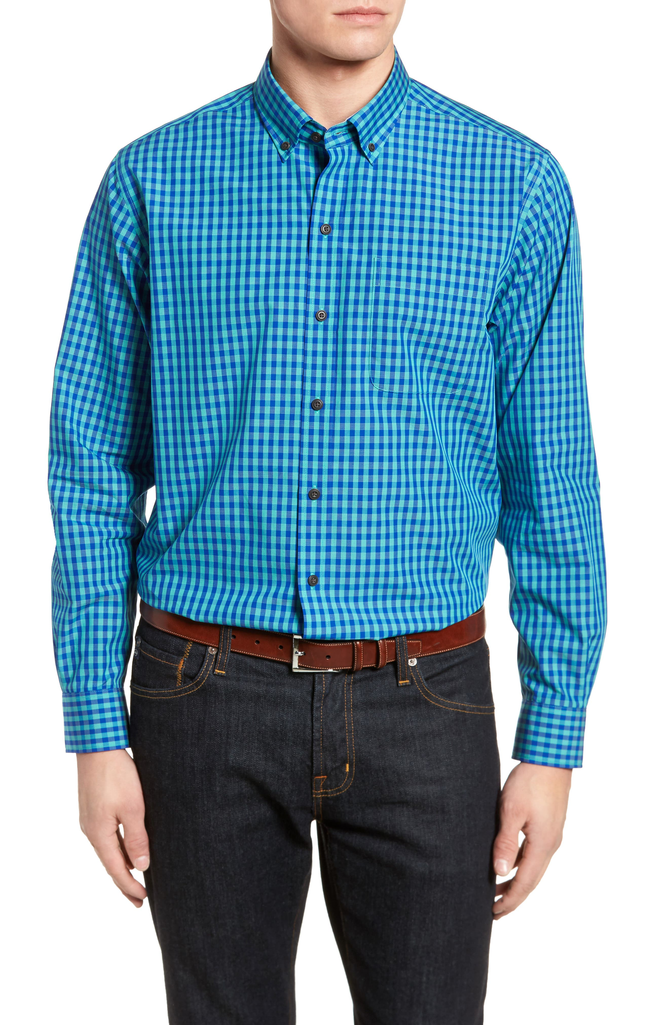 Myles Classic Fit Non-Iron Gingham Sport Shirt,                             Main thumbnail 1, color,                             NEWPORT
