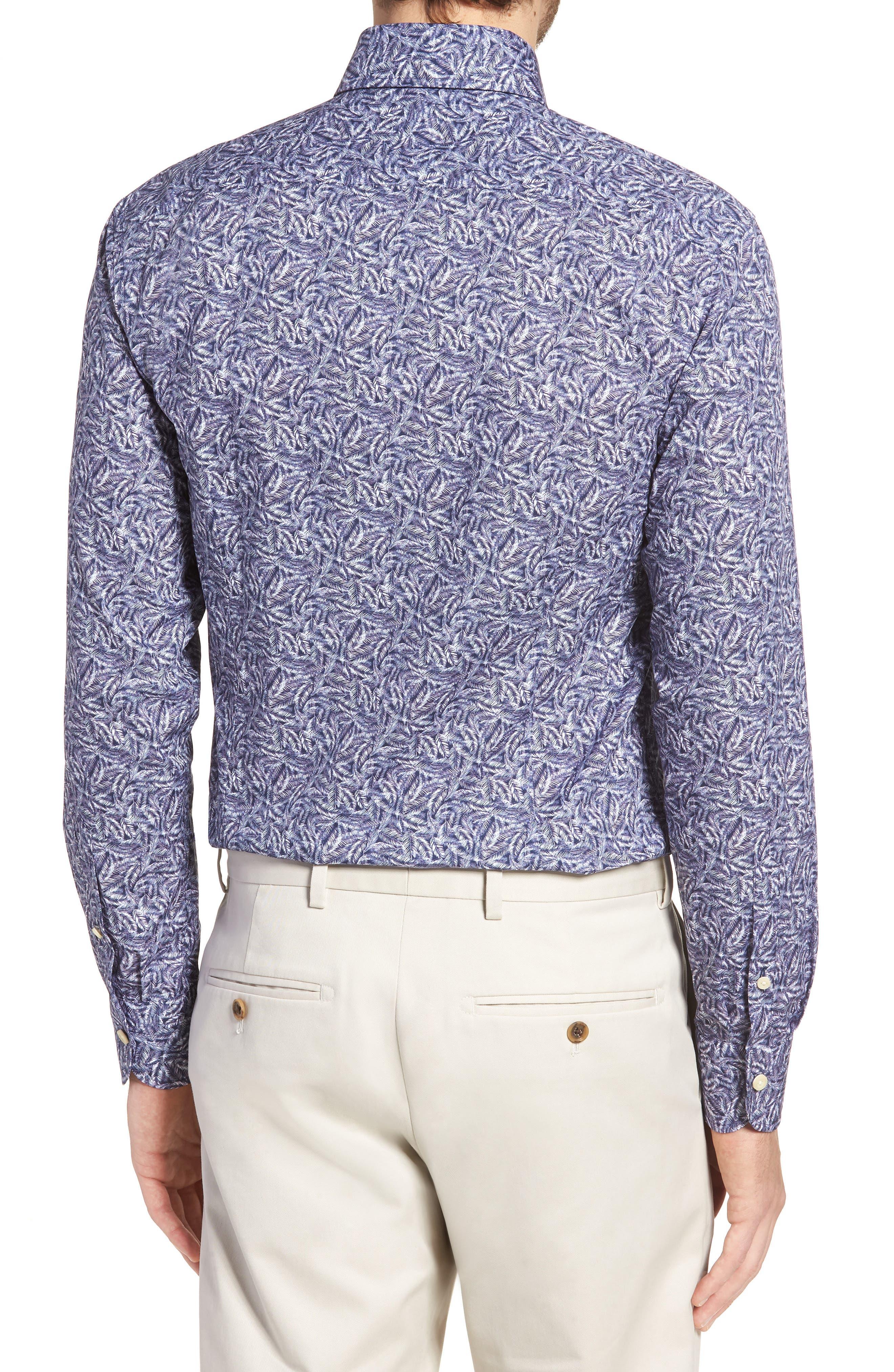 Garnaby Slim Fit Print Dress Shirt,                             Alternate thumbnail 3, color,                             400