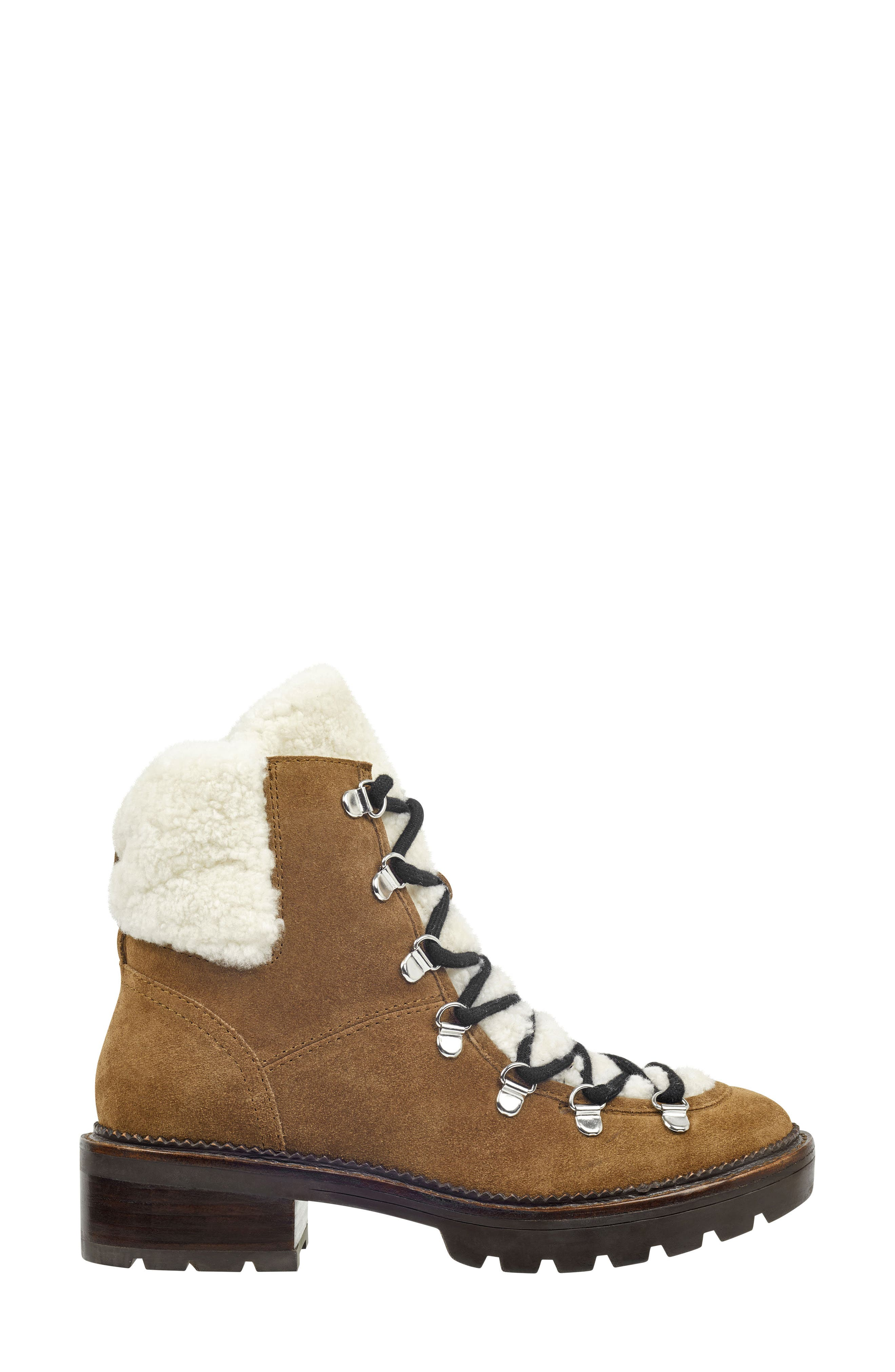 Capell Genuine Shearling Cuff Lace-Up Boot,                             Alternate thumbnail 3, color,                             BROWN SUEDE