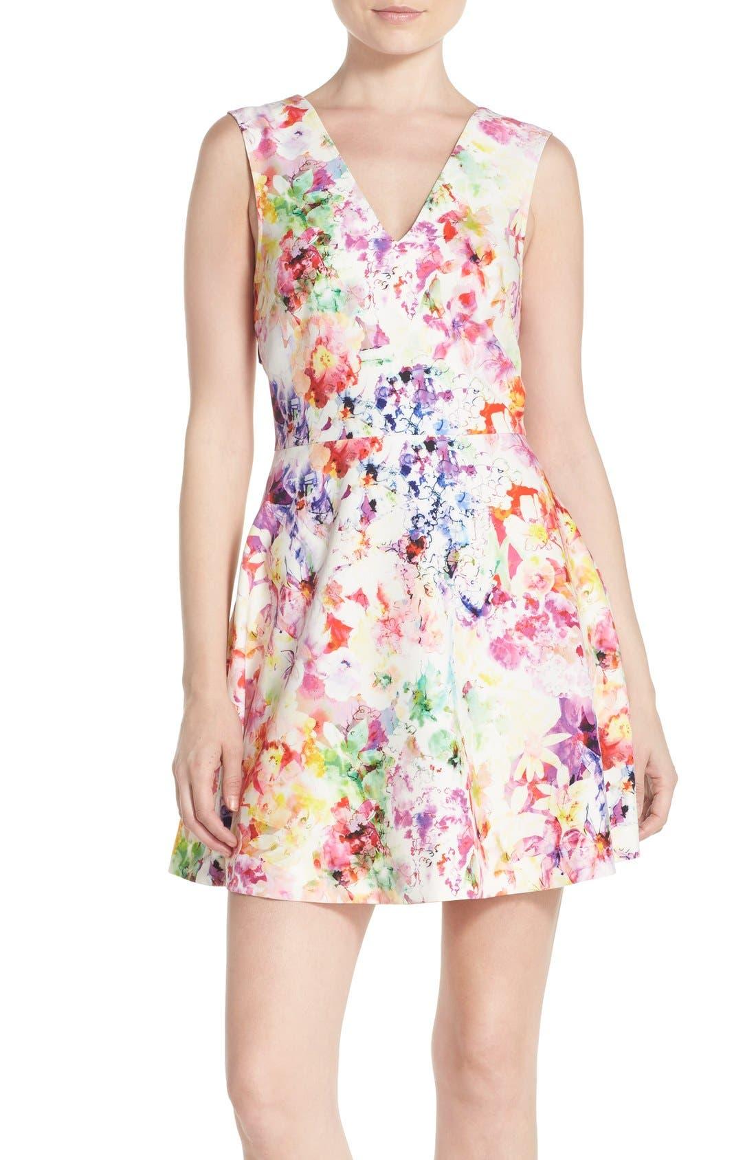 Bianca Back Cutout Fit & Flare Dress,                             Main thumbnail 12, color,
