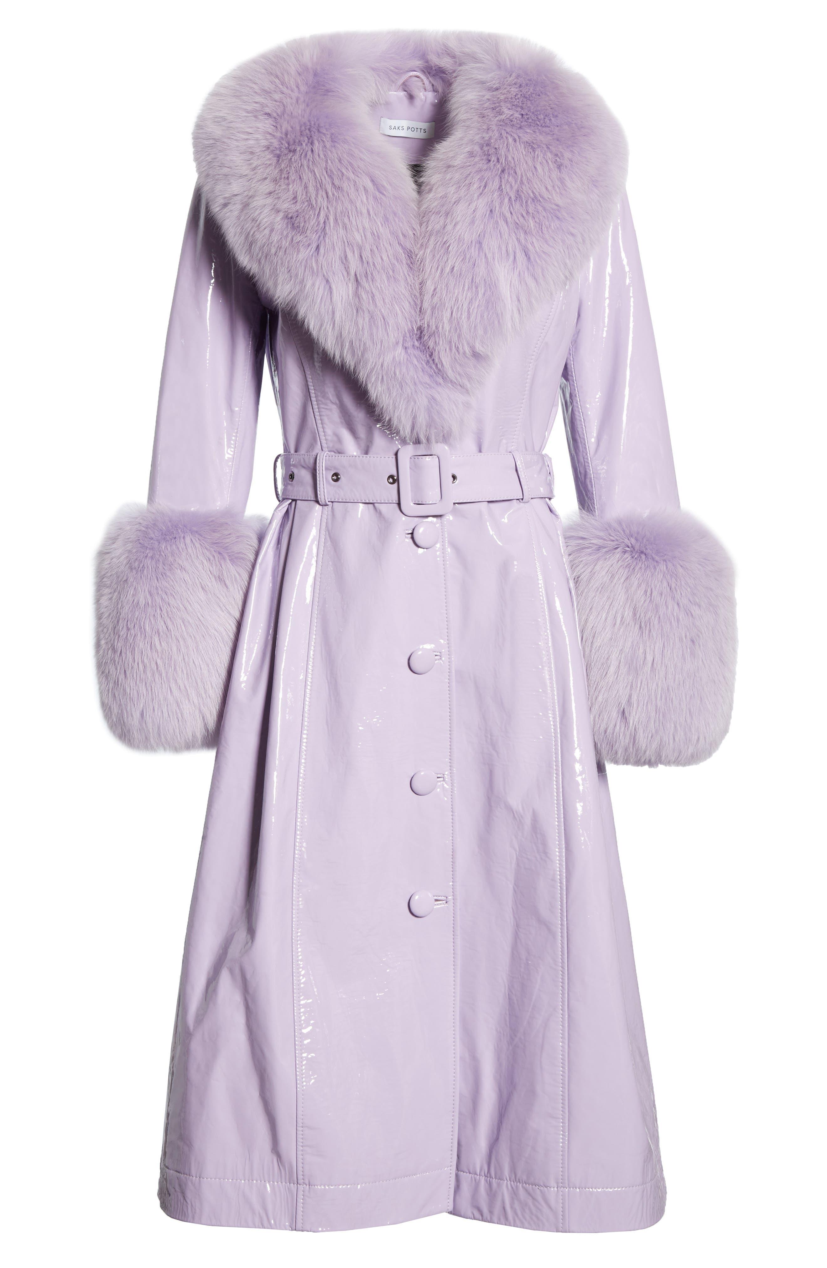 Patent Leather Coat with Genuine Fox Fur Trim,                             Alternate thumbnail 5, color,                             LAVENDER