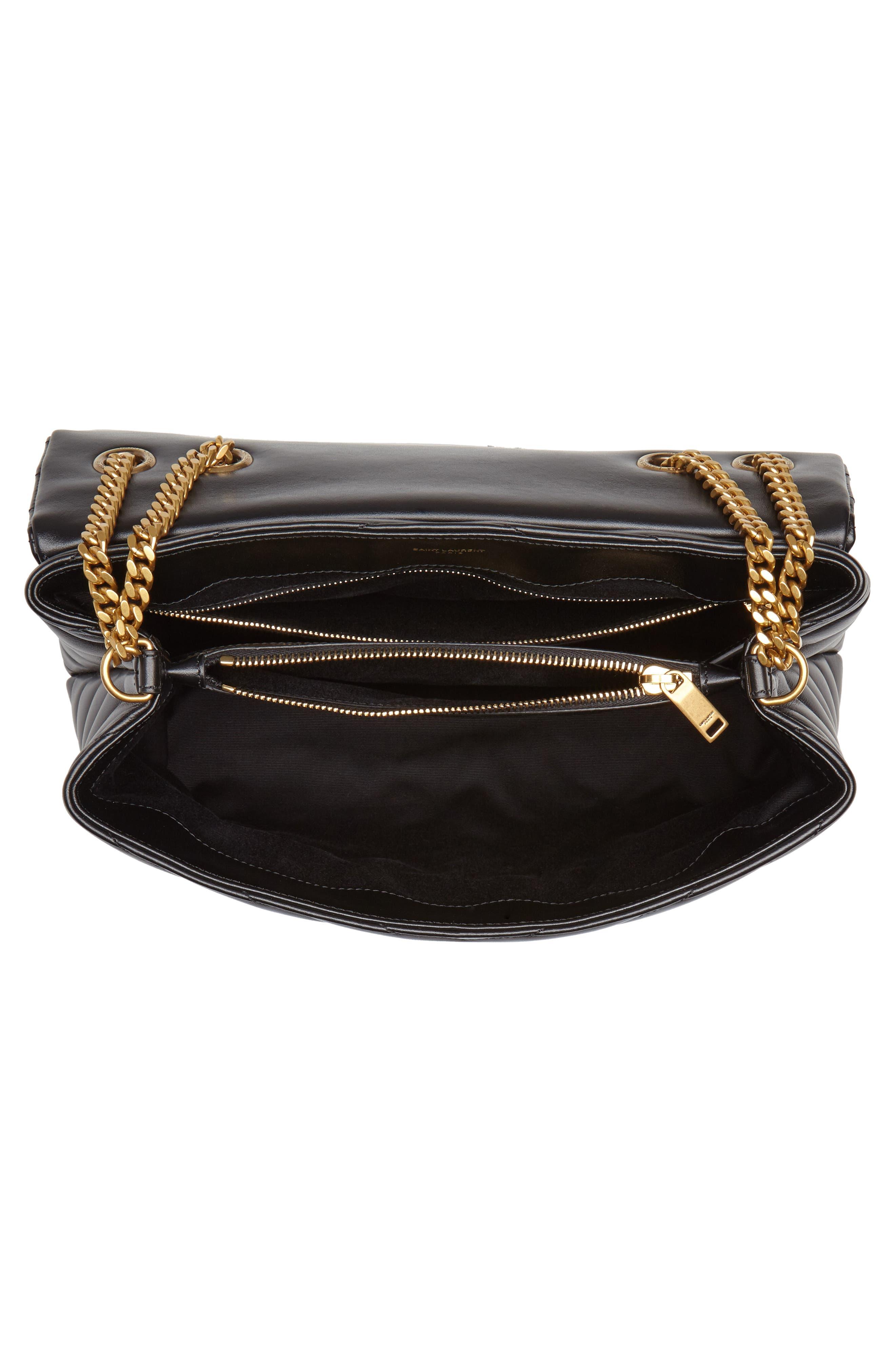 Medium Loulou Matelassé Calfskin Leather Shoulder Bag,                             Alternate thumbnail 4, color,                             NOIR/ GOLD