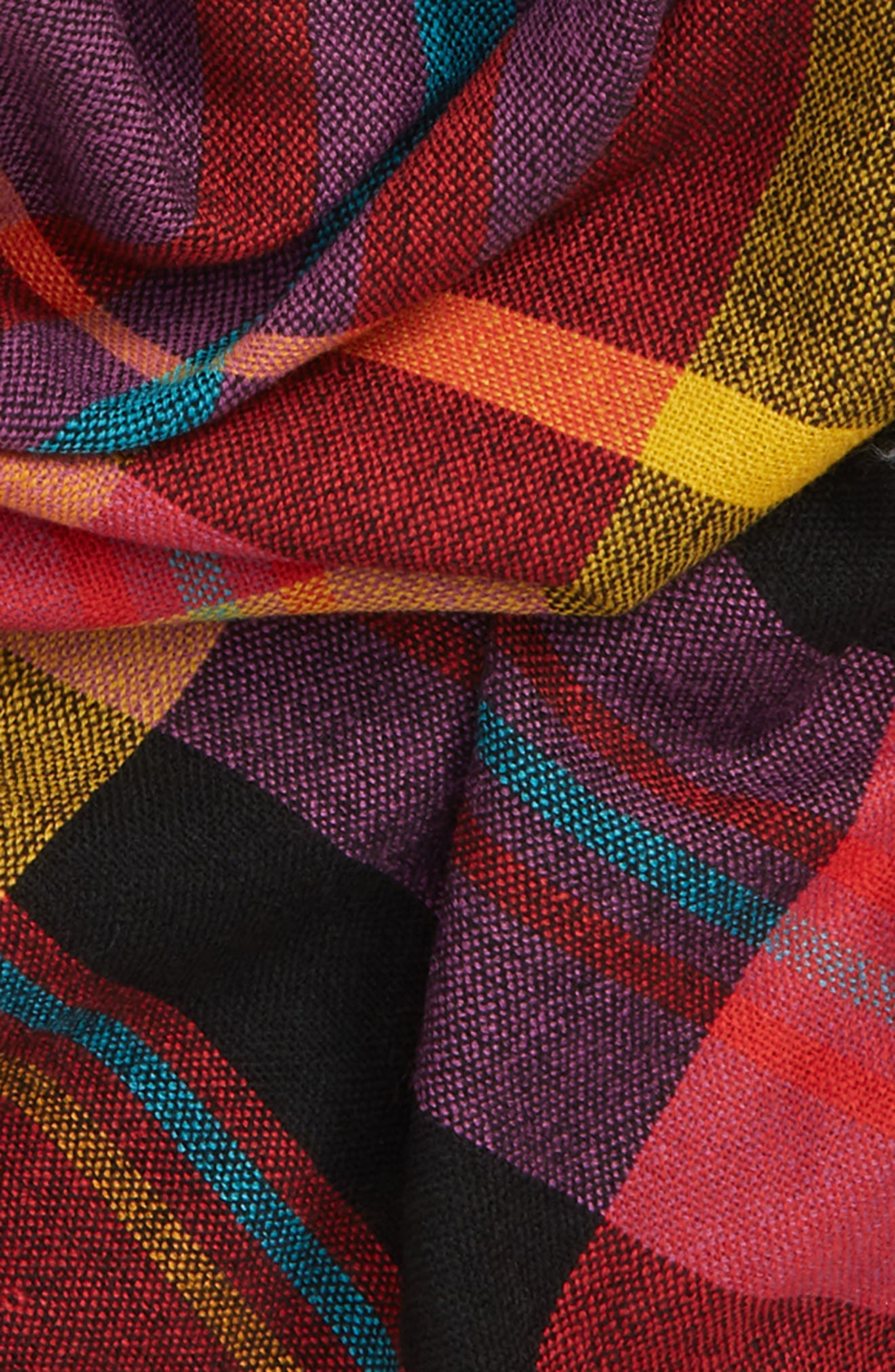 Multicolor Plaid Scarf,                             Alternate thumbnail 3, color,                             RED MULTI