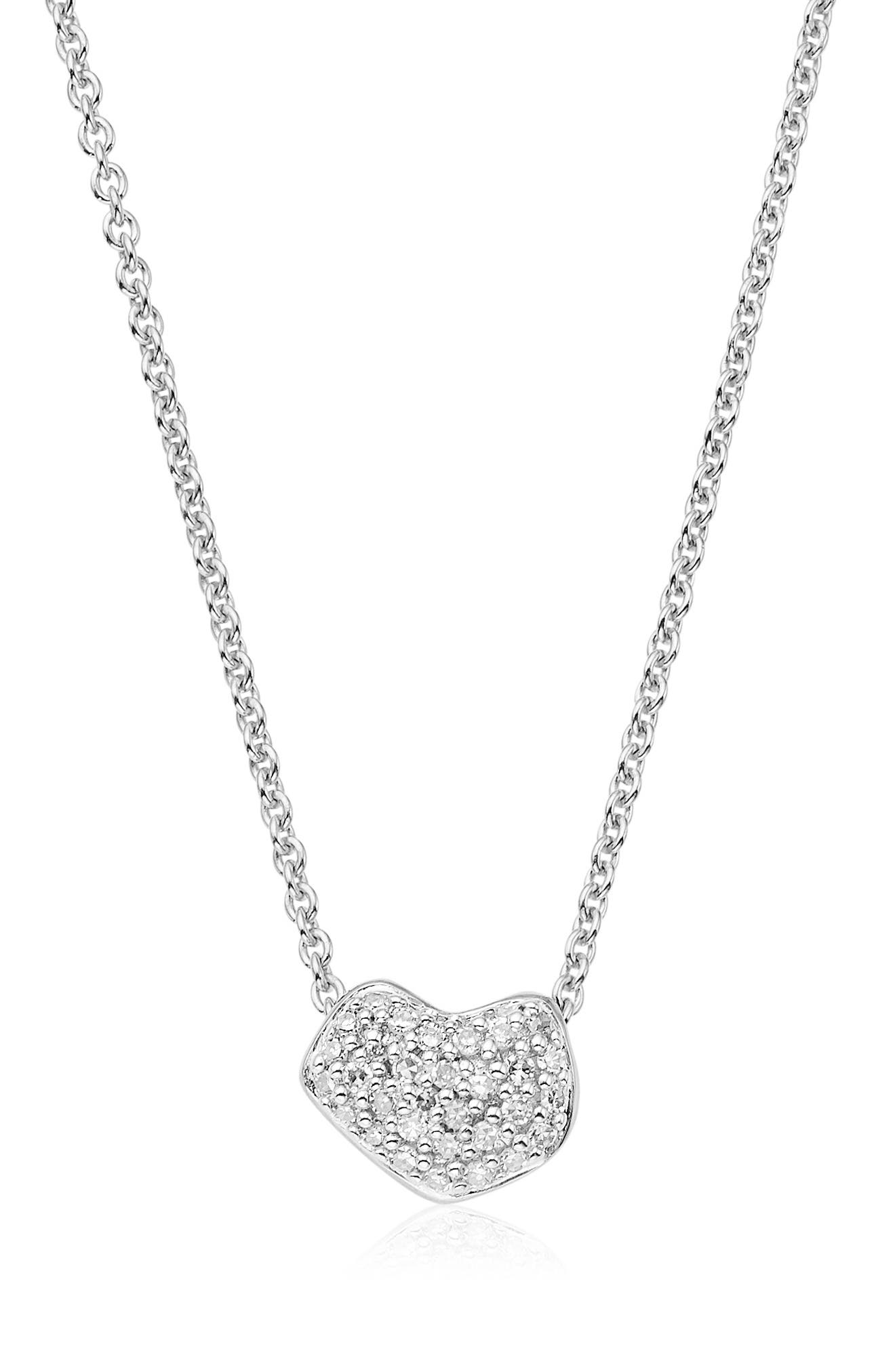 MONICA VINADER,                             Nura Mini Diamond Heart Necklace,                             Main thumbnail 1, color,                             SILVER/ DIAMOND