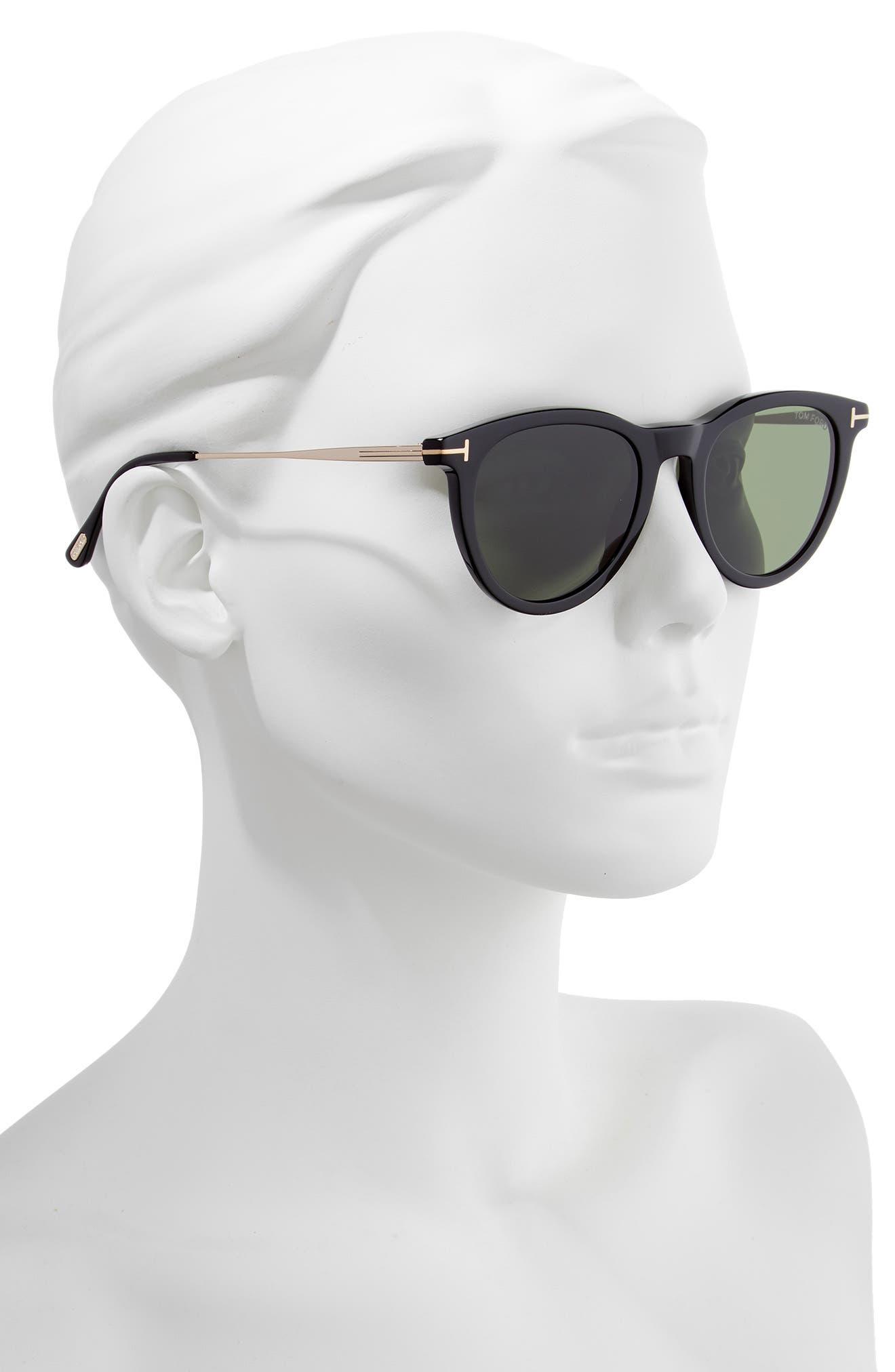 51mm Cat Eye Sunglasses,                             Alternate thumbnail 2, color,                             SHINY BLACK/ GREEN