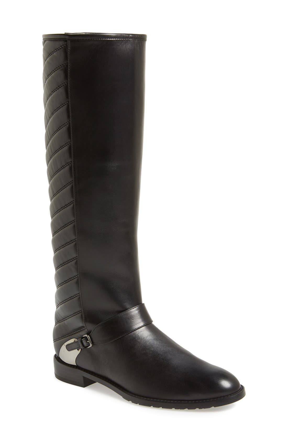 'Raceway' Quilted Shaft Riding Boot, Main, color, 001