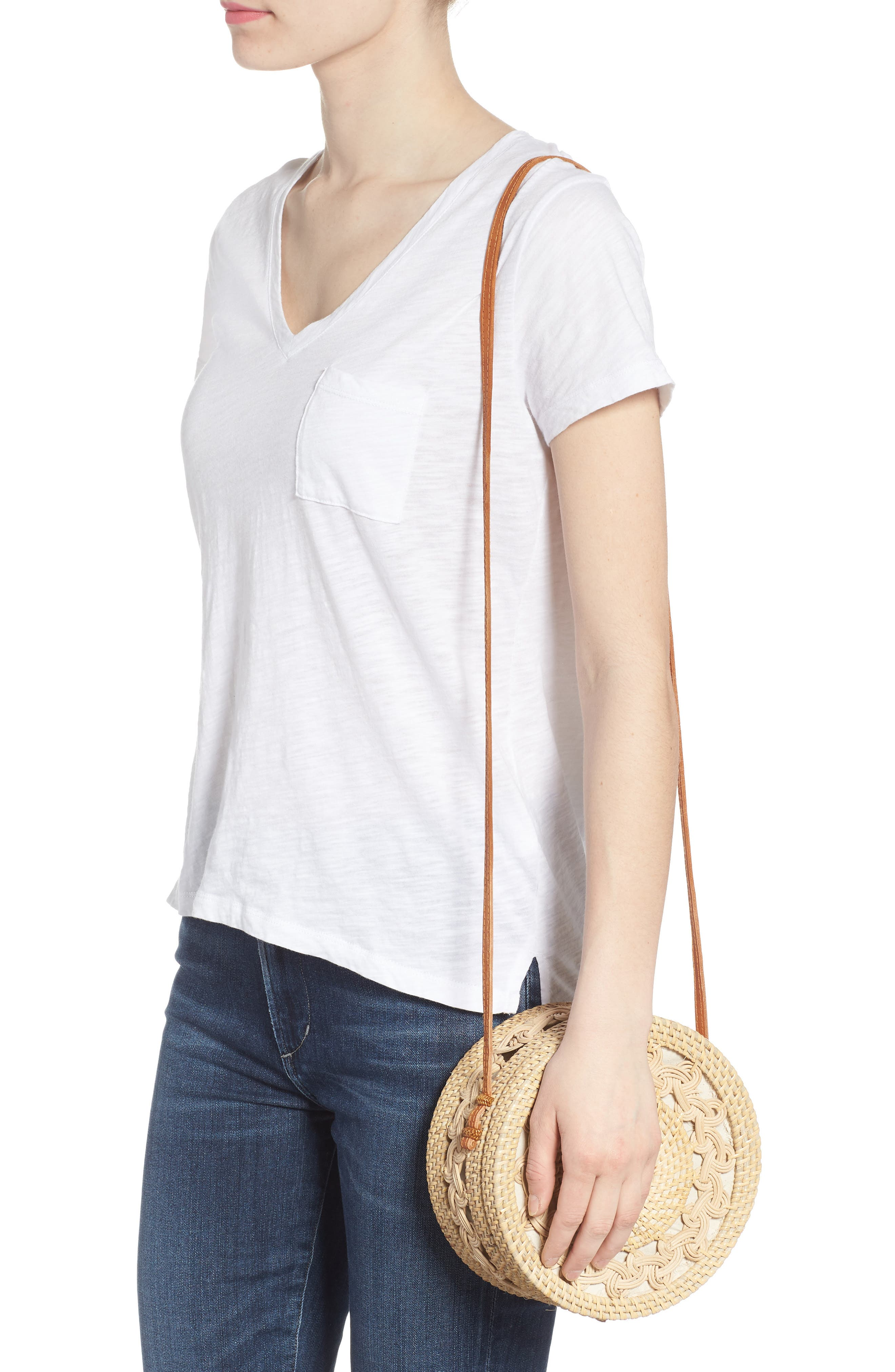 Woven Rattan Circle Crossbody Bag,                             Alternate thumbnail 2, color,                             LIGHTER TAN/ NATURAL
