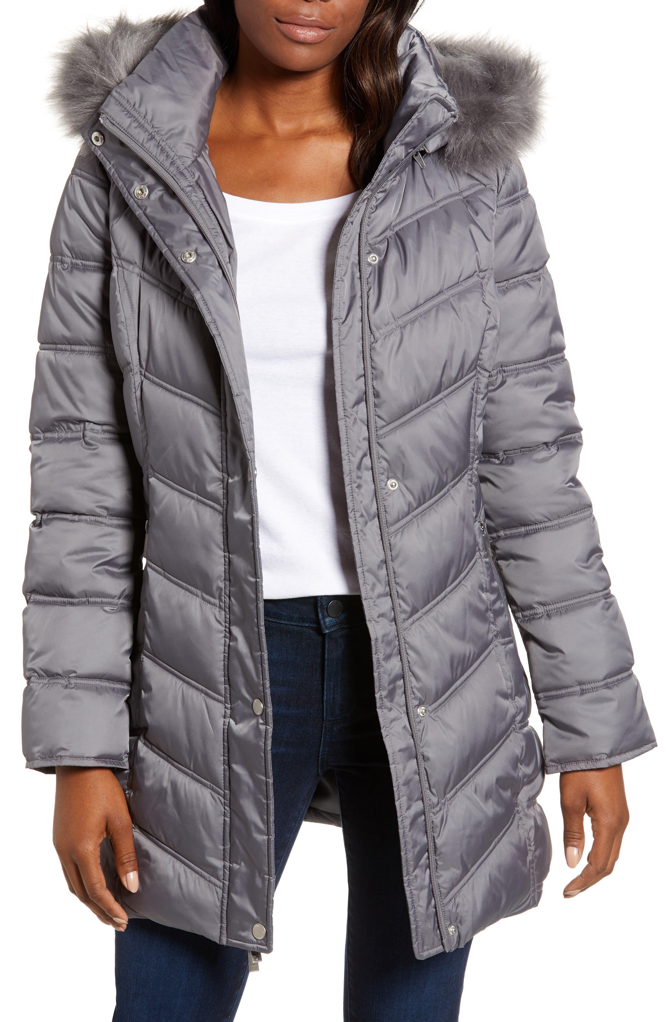 Faux Fur Trim Puffer Jacket,                         Main,                         color, NICKEL