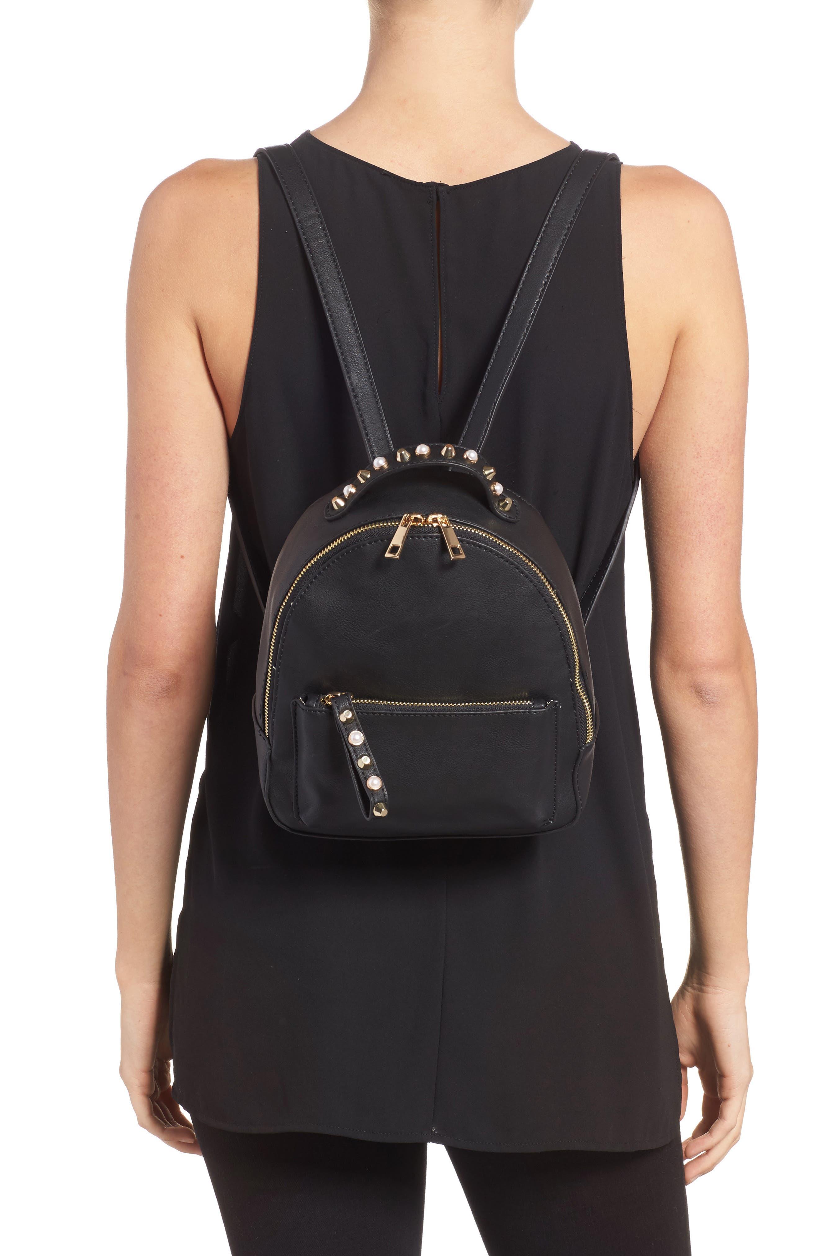 Embellished Faux Leather Backpack,                             Alternate thumbnail 2, color,                             001