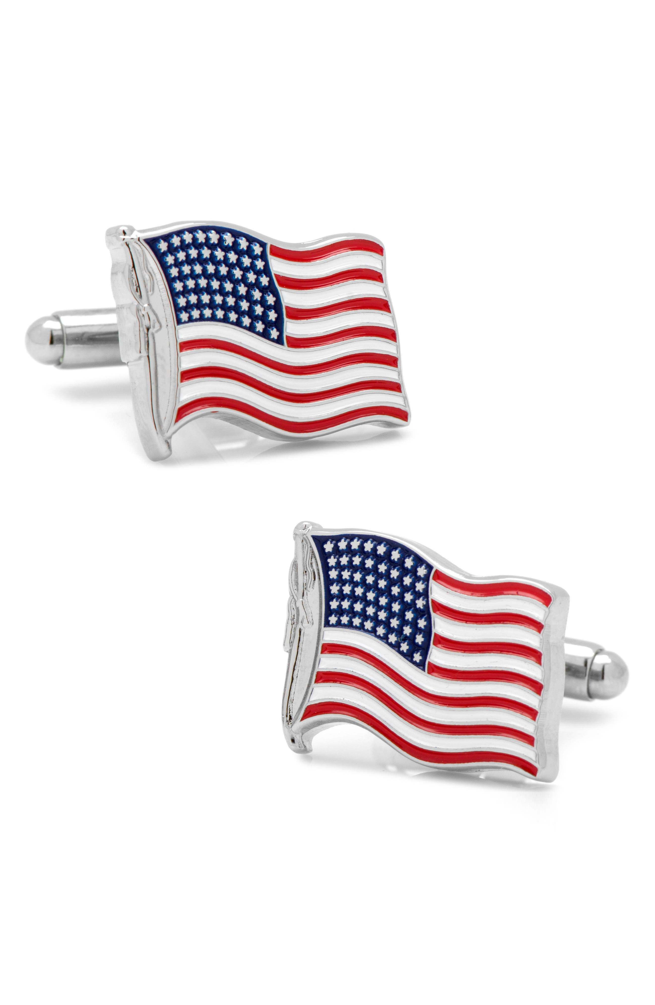 Waving American Flag Cuff Links,                         Main,                         color, RED