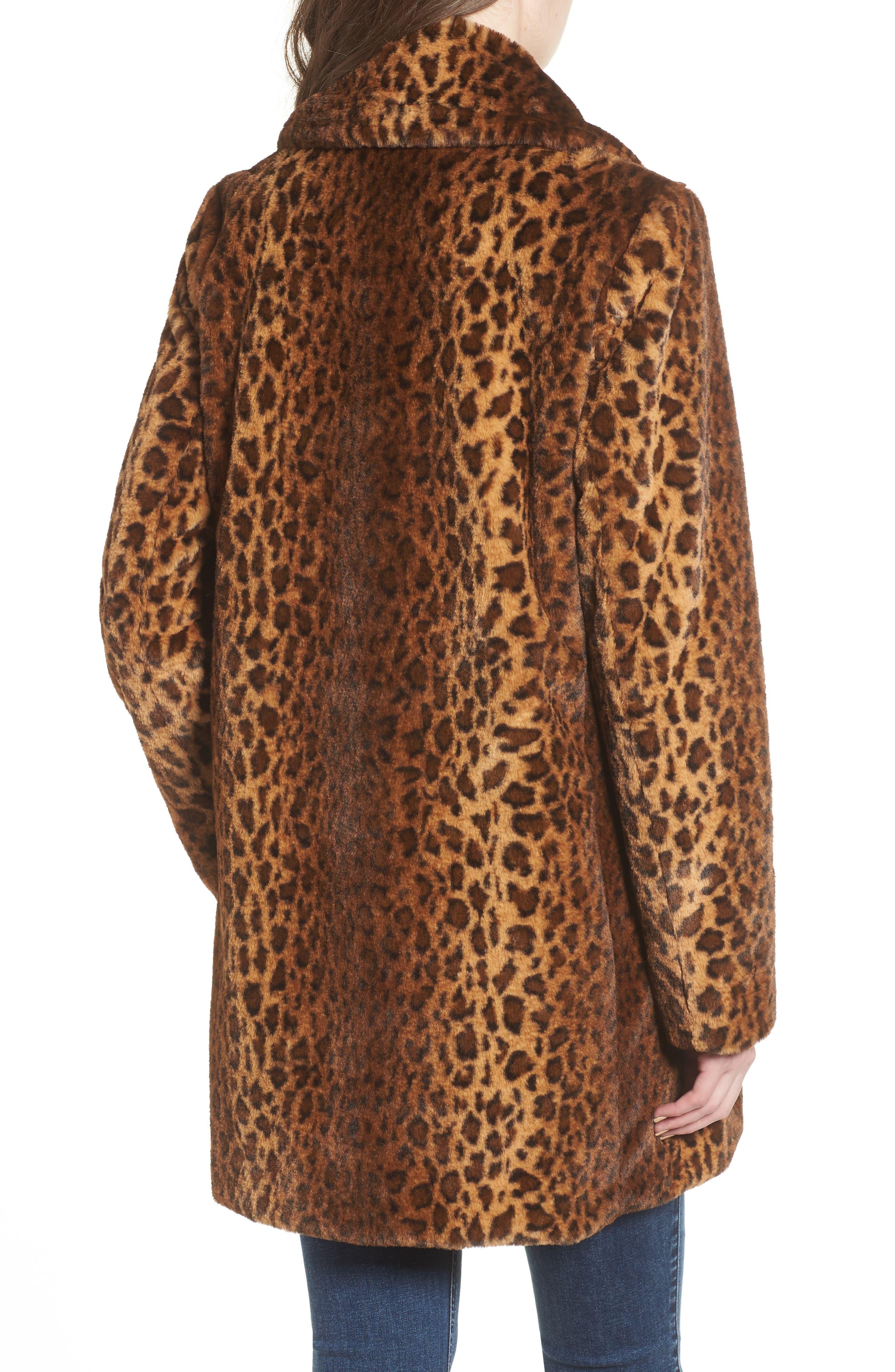 Faux Fur Leopard Print Coat,                             Alternate thumbnail 2, color,                             206