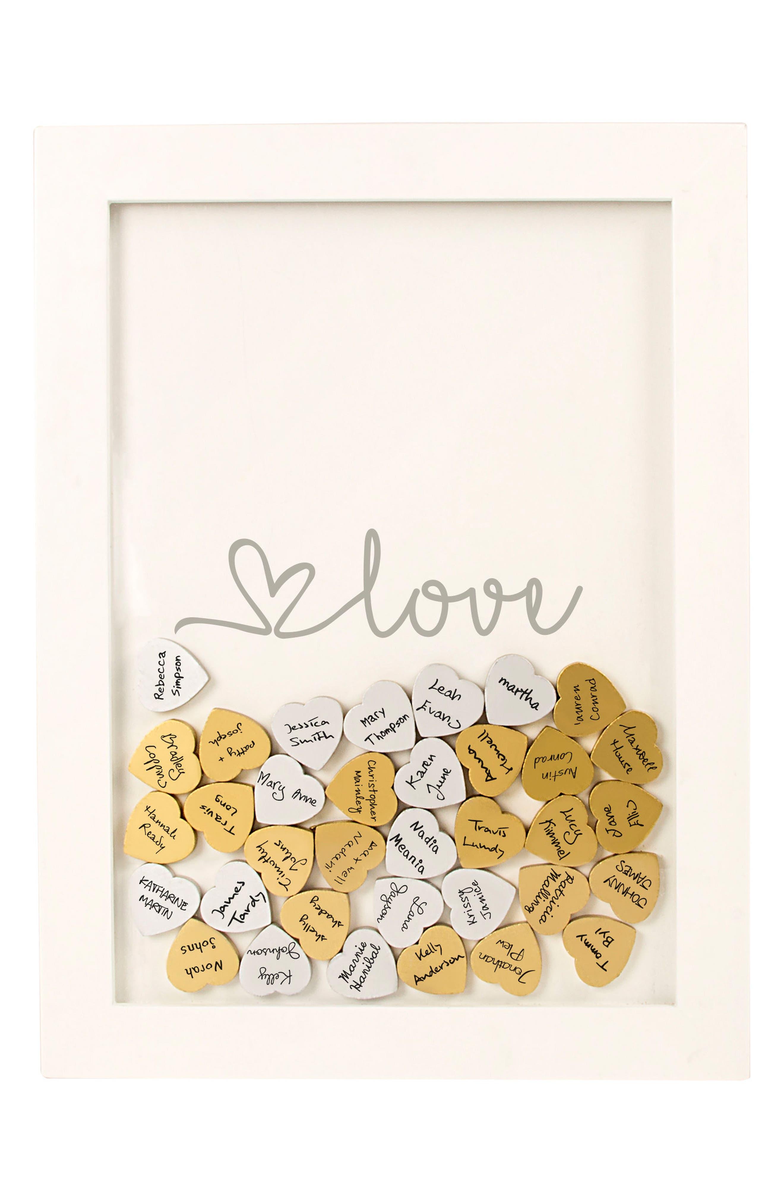 Monogram Love Heart Drop Guest Book,                             Alternate thumbnail 3, color,                             040
