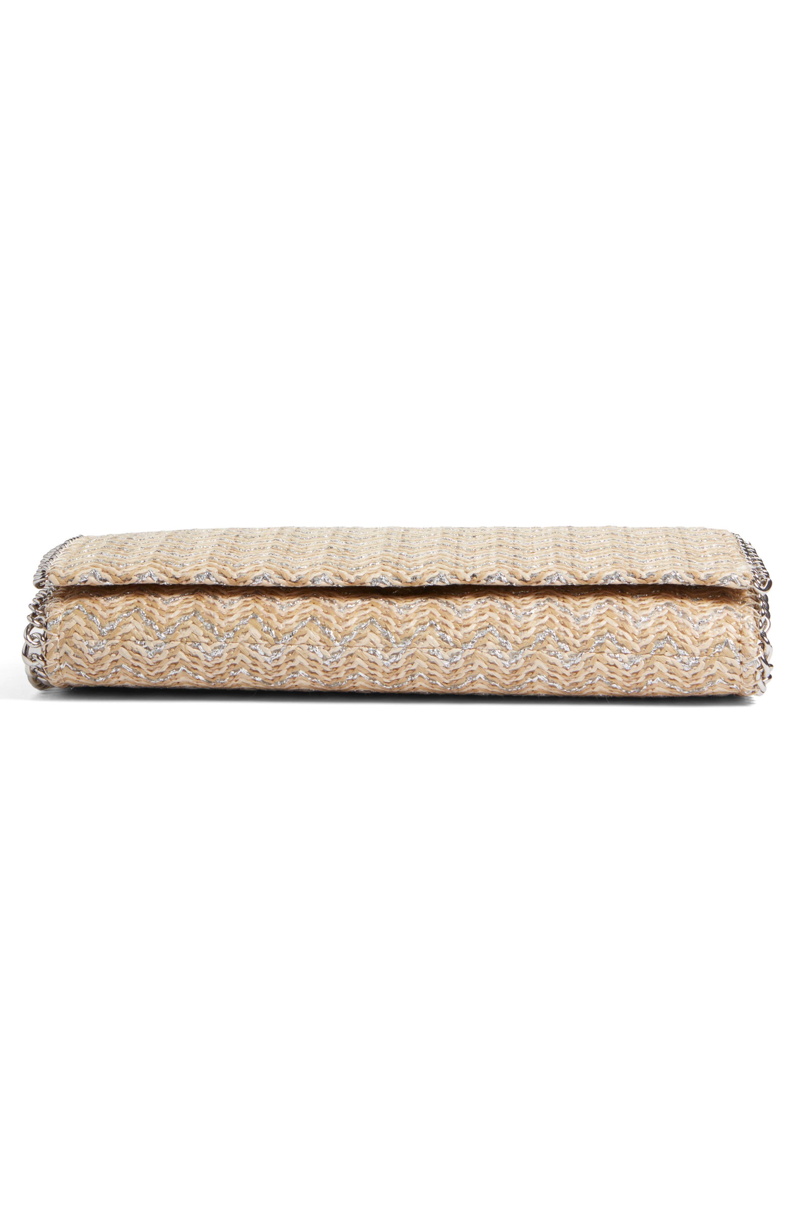 Stripe Straw Convertible Clutch,                             Alternate thumbnail 6, color,                             040