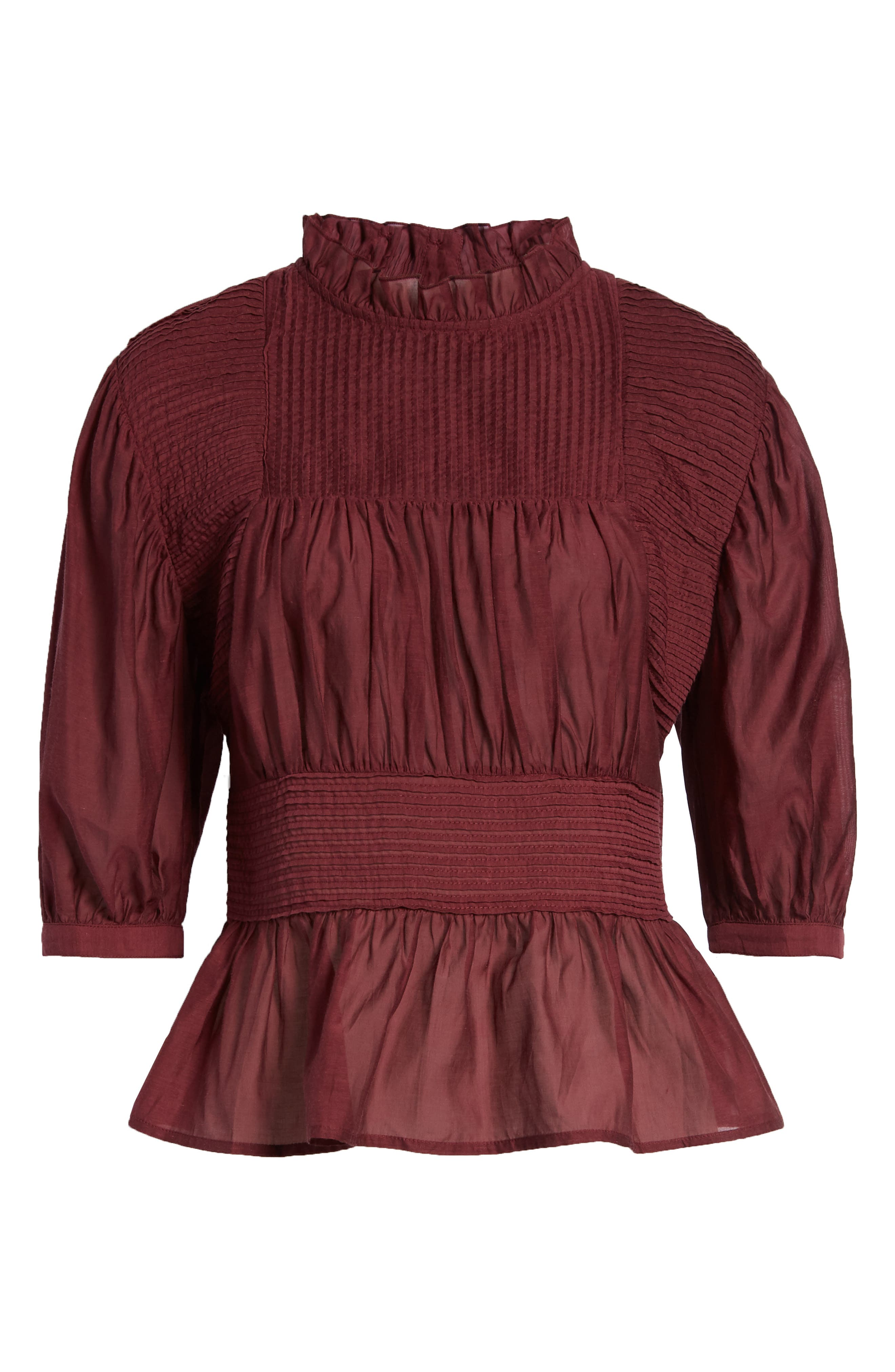 Pleated Peplum Top,                             Alternate thumbnail 7, color,                             RED TANNIN