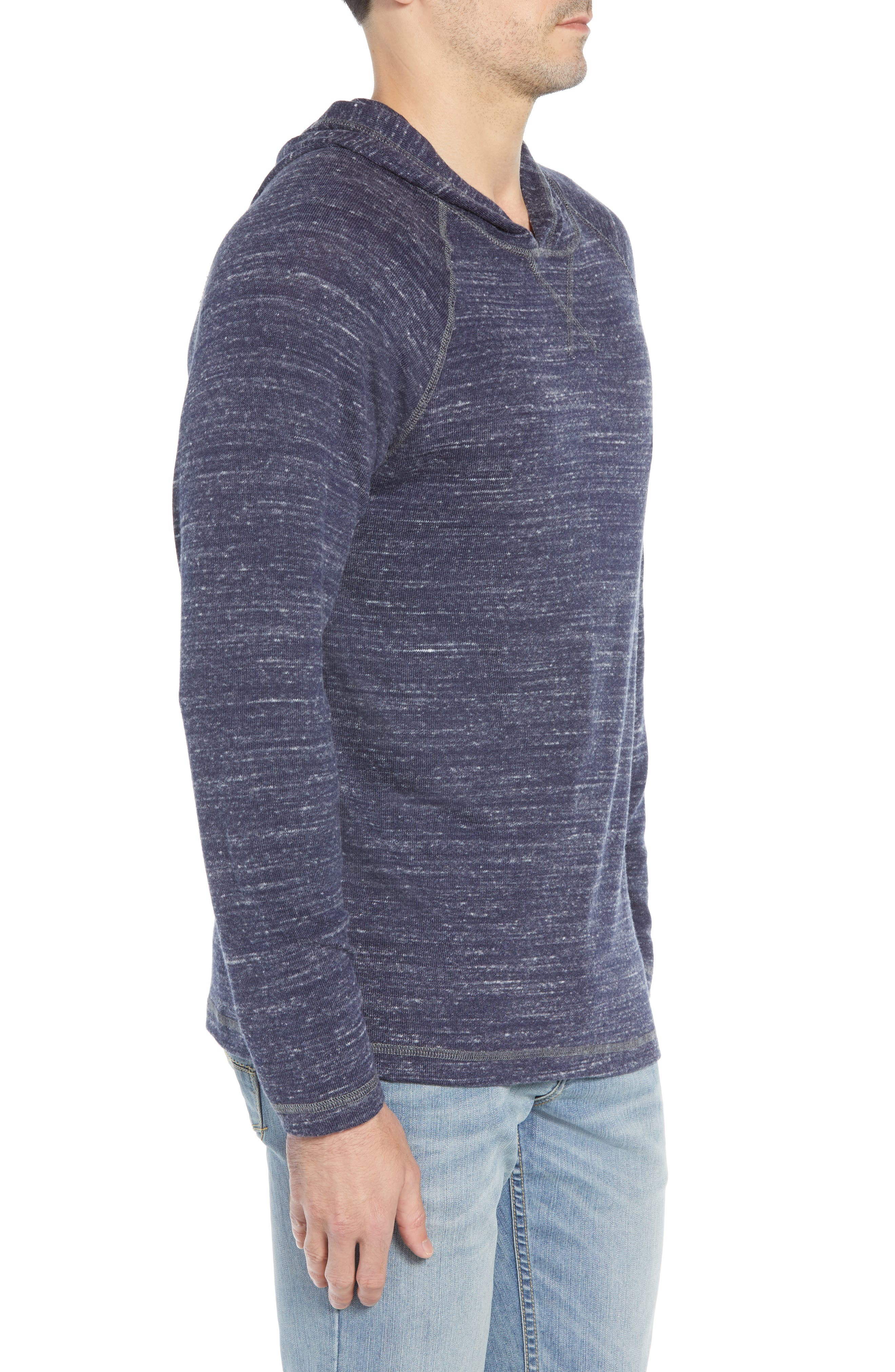 Leeward Cove Regular Fit Hoodie,                             Alternate thumbnail 3, color,                             OCEAN DEEP HEATHER