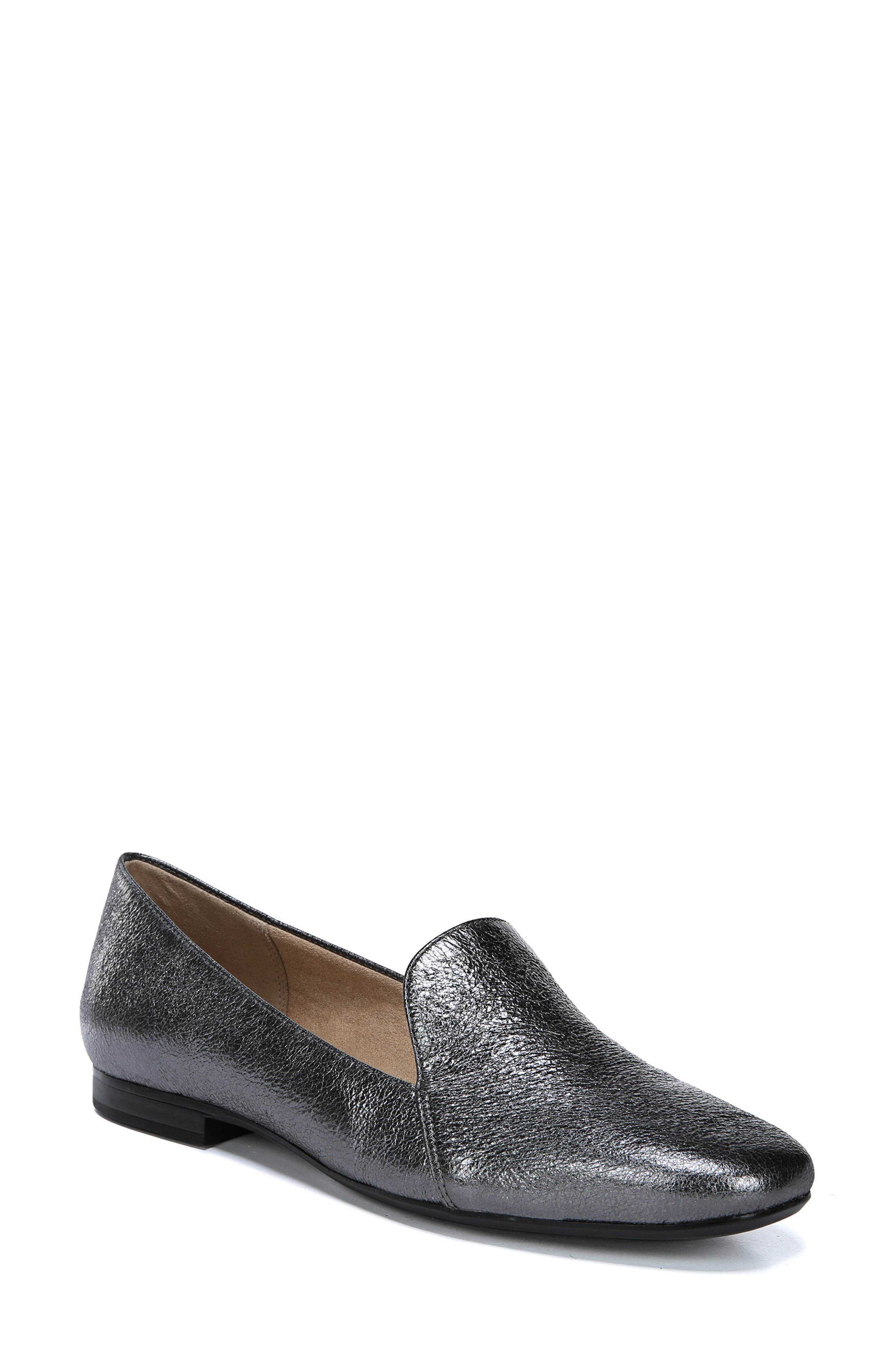 Emiline Flat Loafer,                             Main thumbnail 1, color,                             PEWTER LEATHER