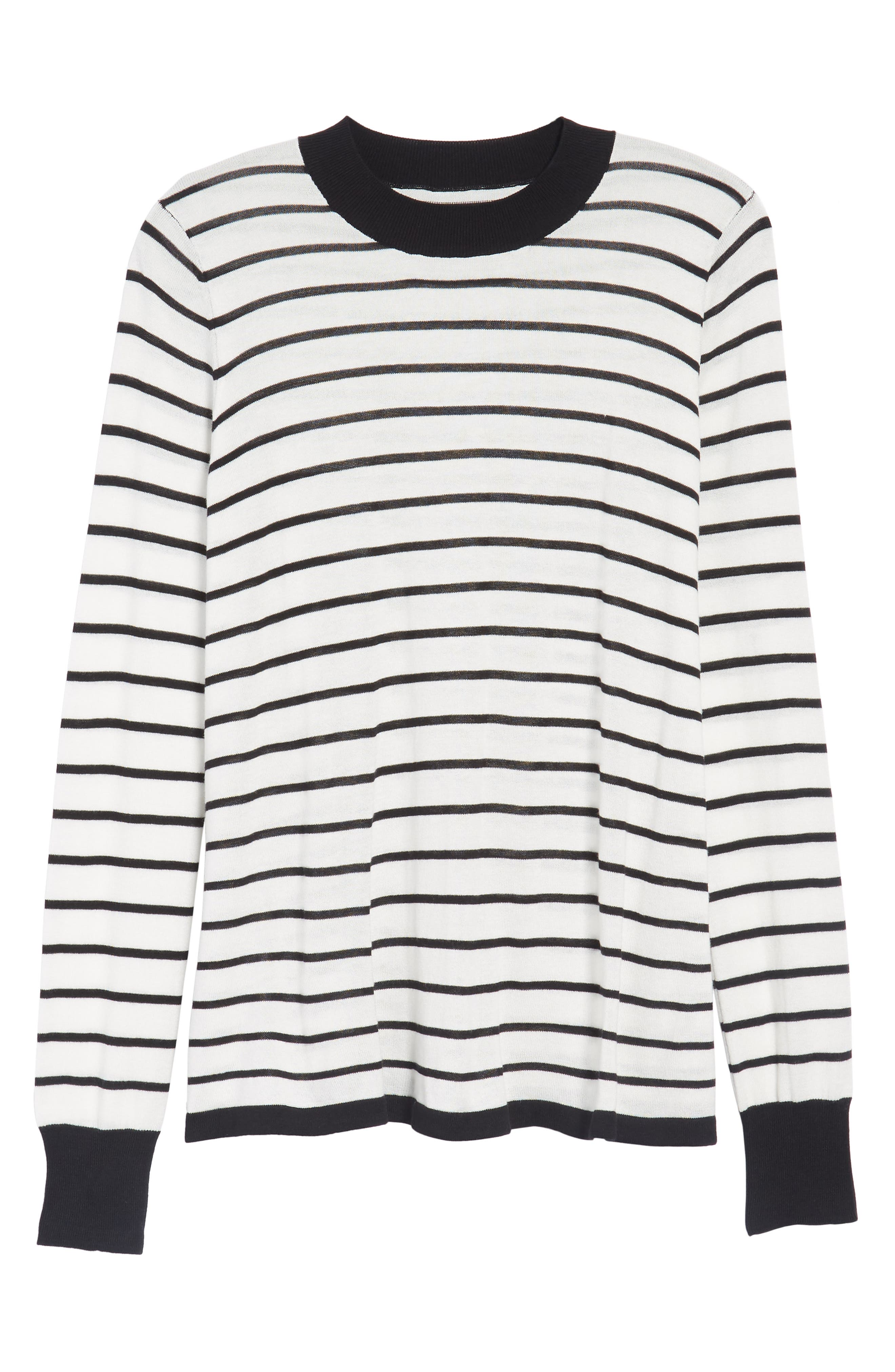 Trapeze Fit Stripe Sweater,                             Alternate thumbnail 6, color,                             907
