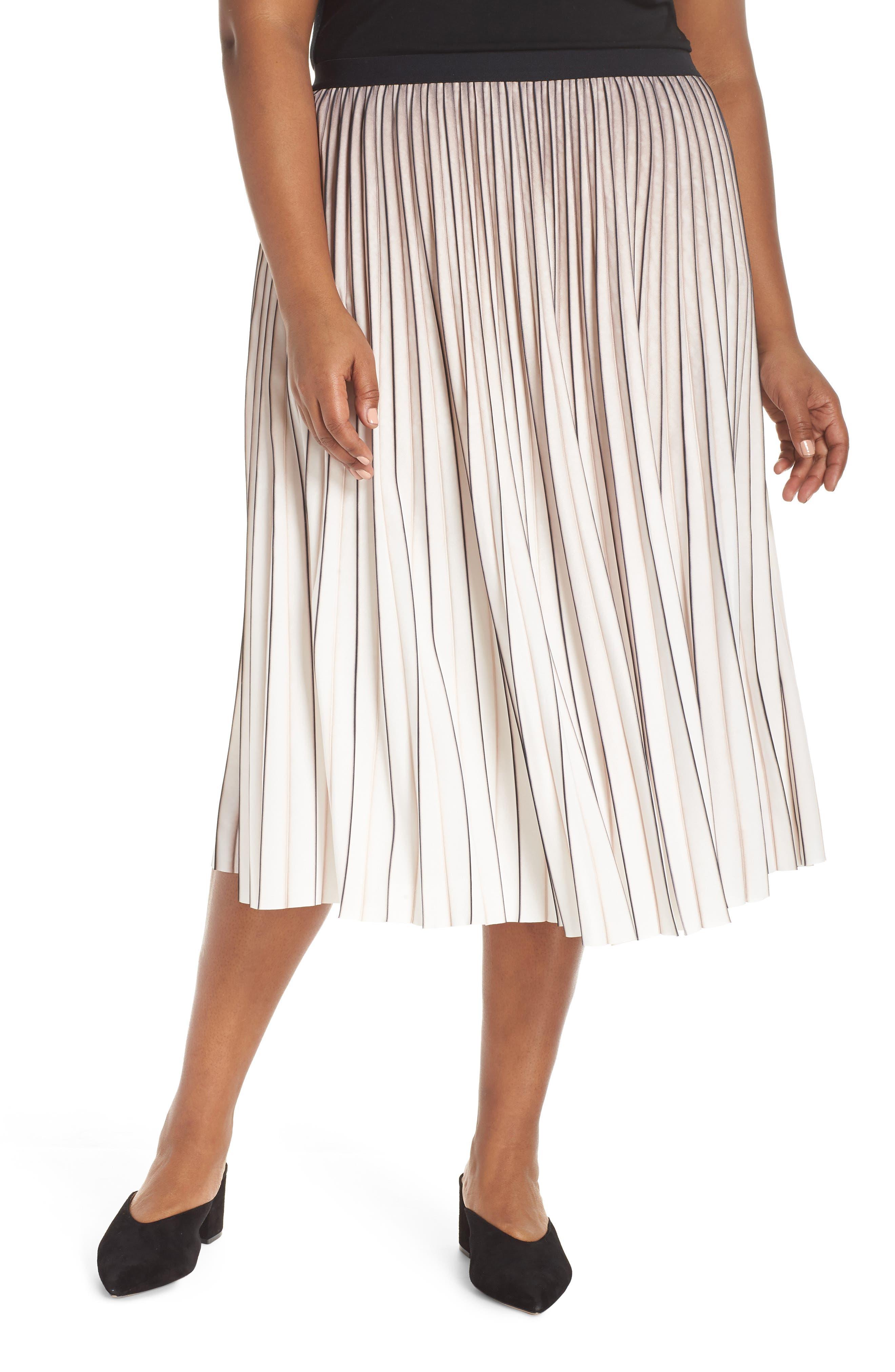Stripe Pleat Skirt,                             Main thumbnail 1, color,                             MULTI