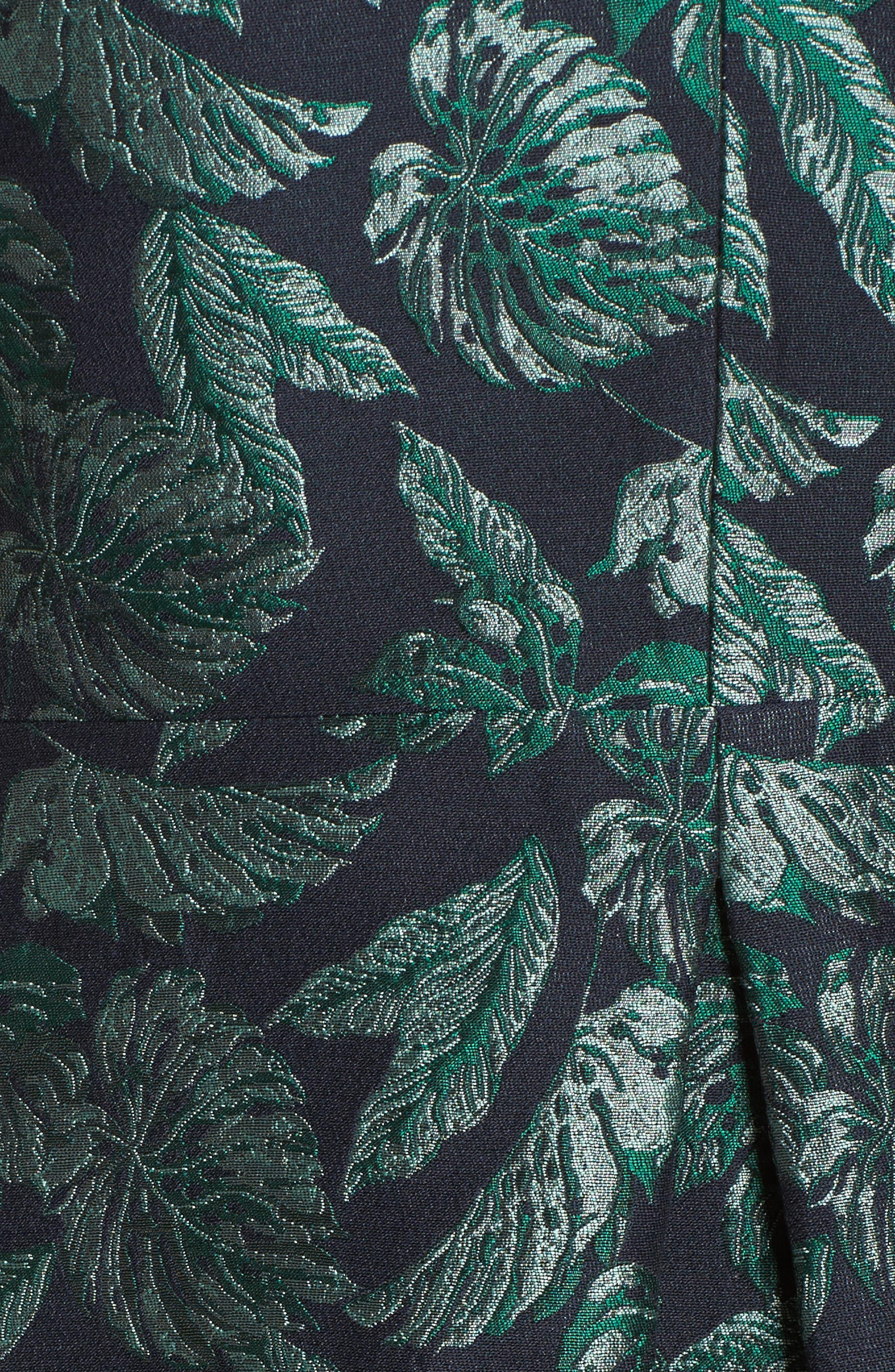 Palm Jacquard A-Line Dress,                             Alternate thumbnail 5, color,                             BLUE/ GREEN