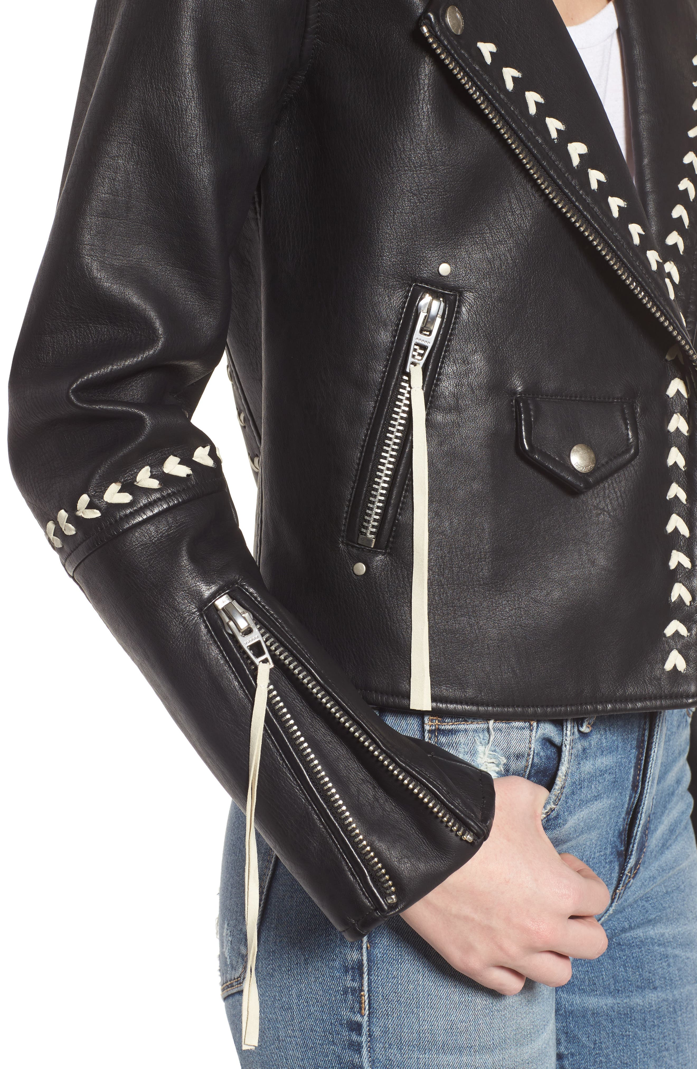 Whipstitched Faux Leather Moto Jacket,                             Alternate thumbnail 4, color,                             001
