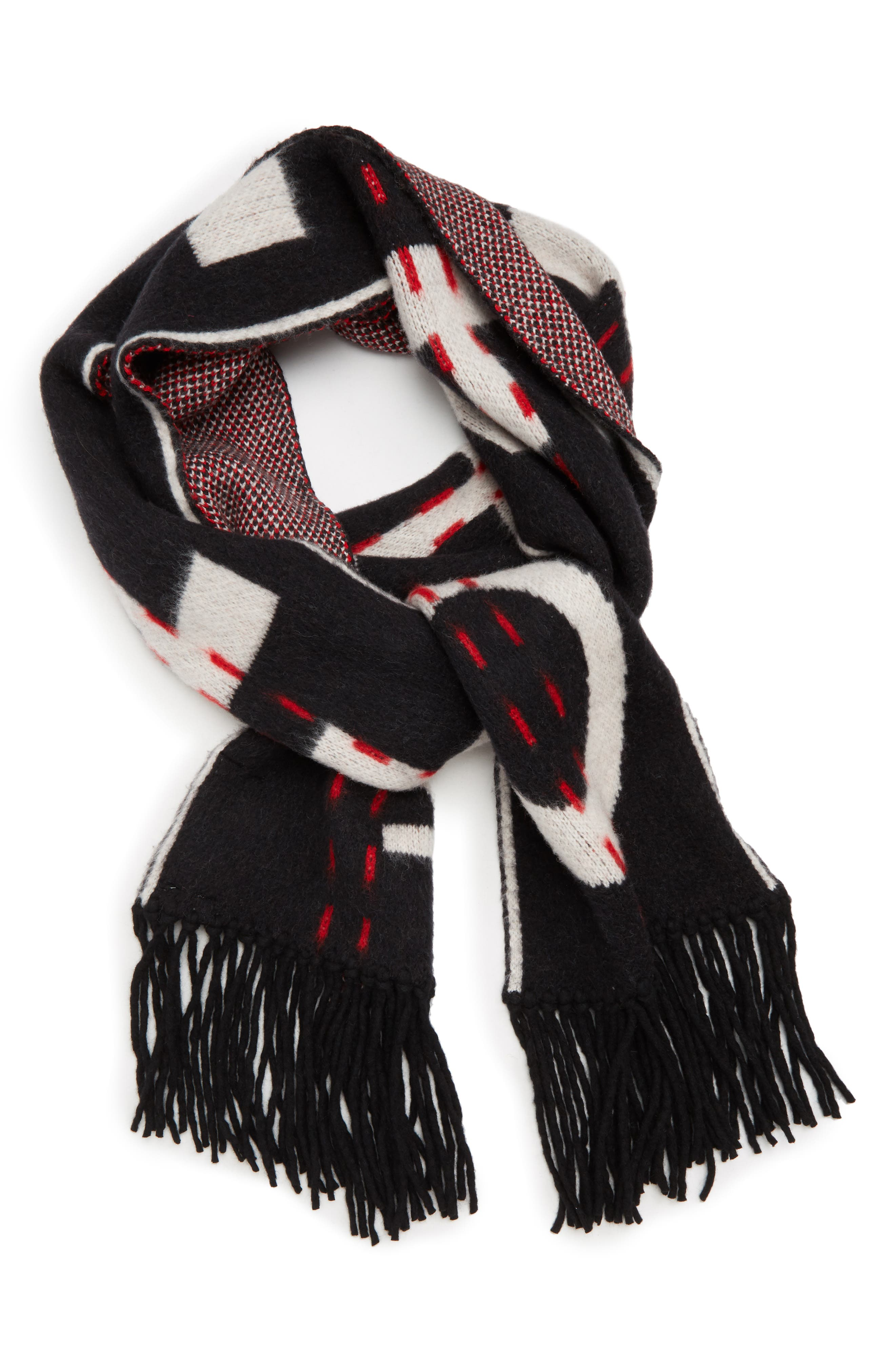 Industrial Scarf,                             Alternate thumbnail 3, color,                             BLACK WHITE