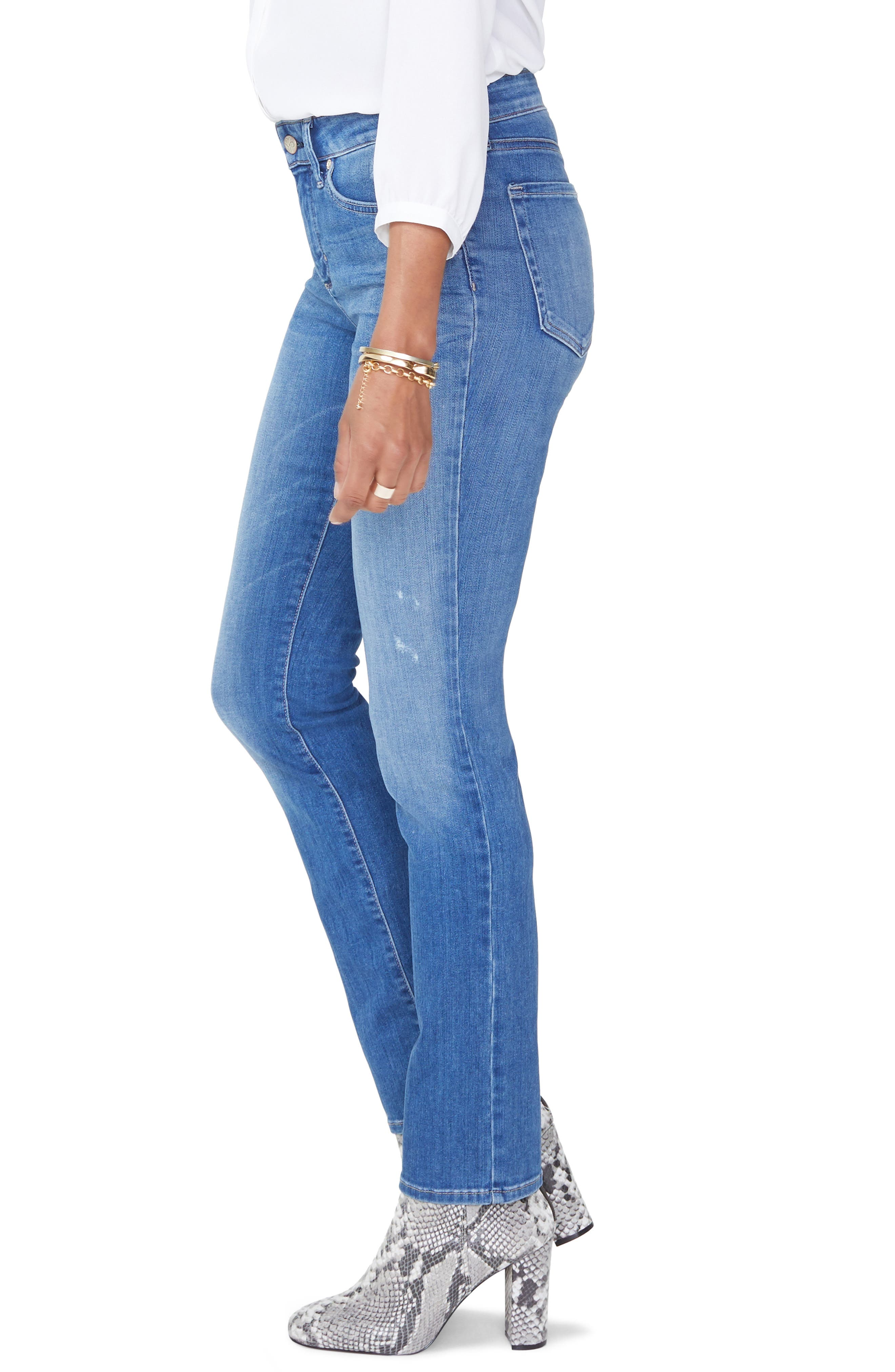 Sheri High Waist Ripped Slim Stretch Ankle Jeans,                             Alternate thumbnail 3, color,                             428