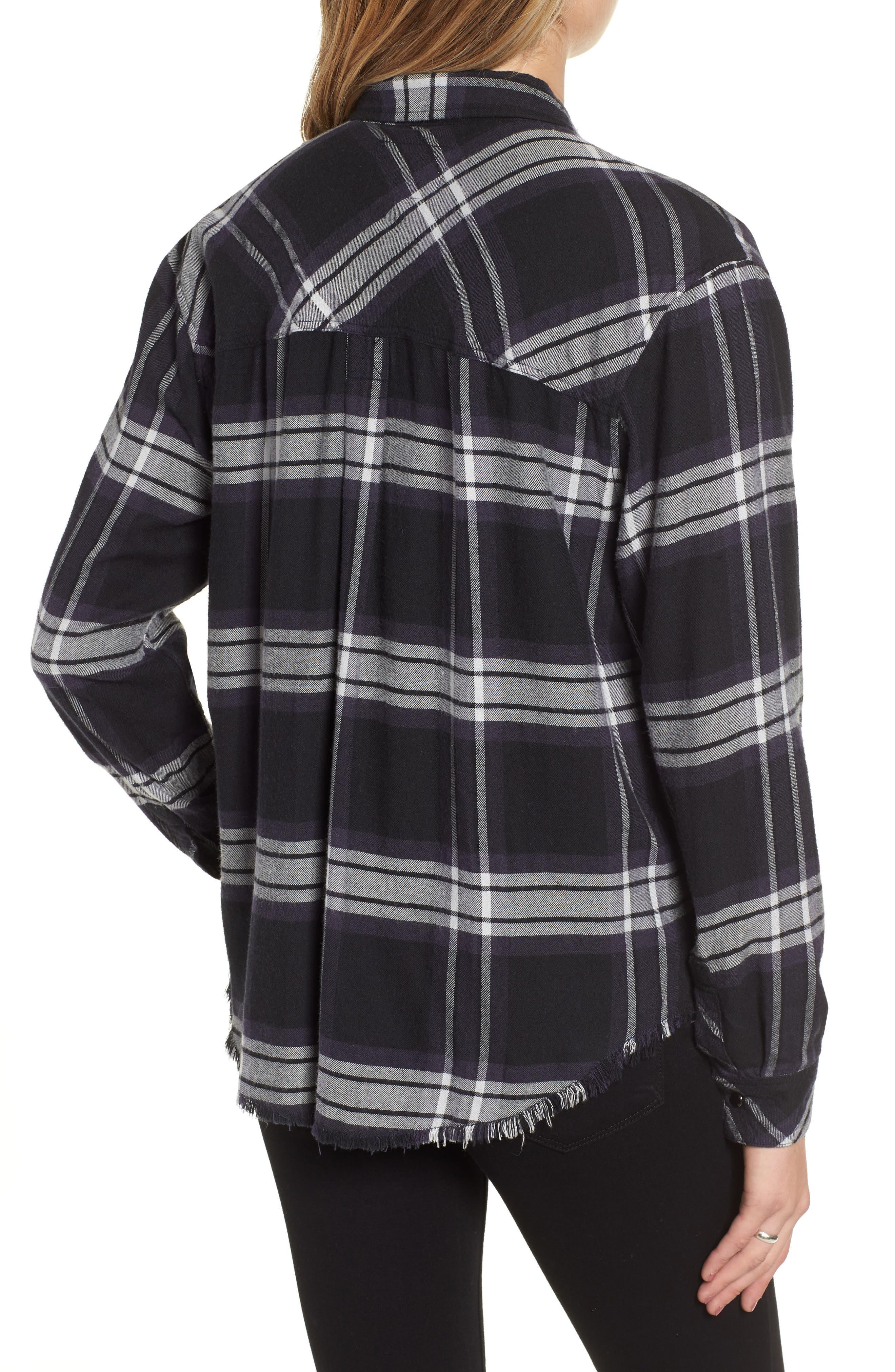 Leo Plaid Woven Shirt,                             Alternate thumbnail 2, color,                             BLACK ASH WHITE