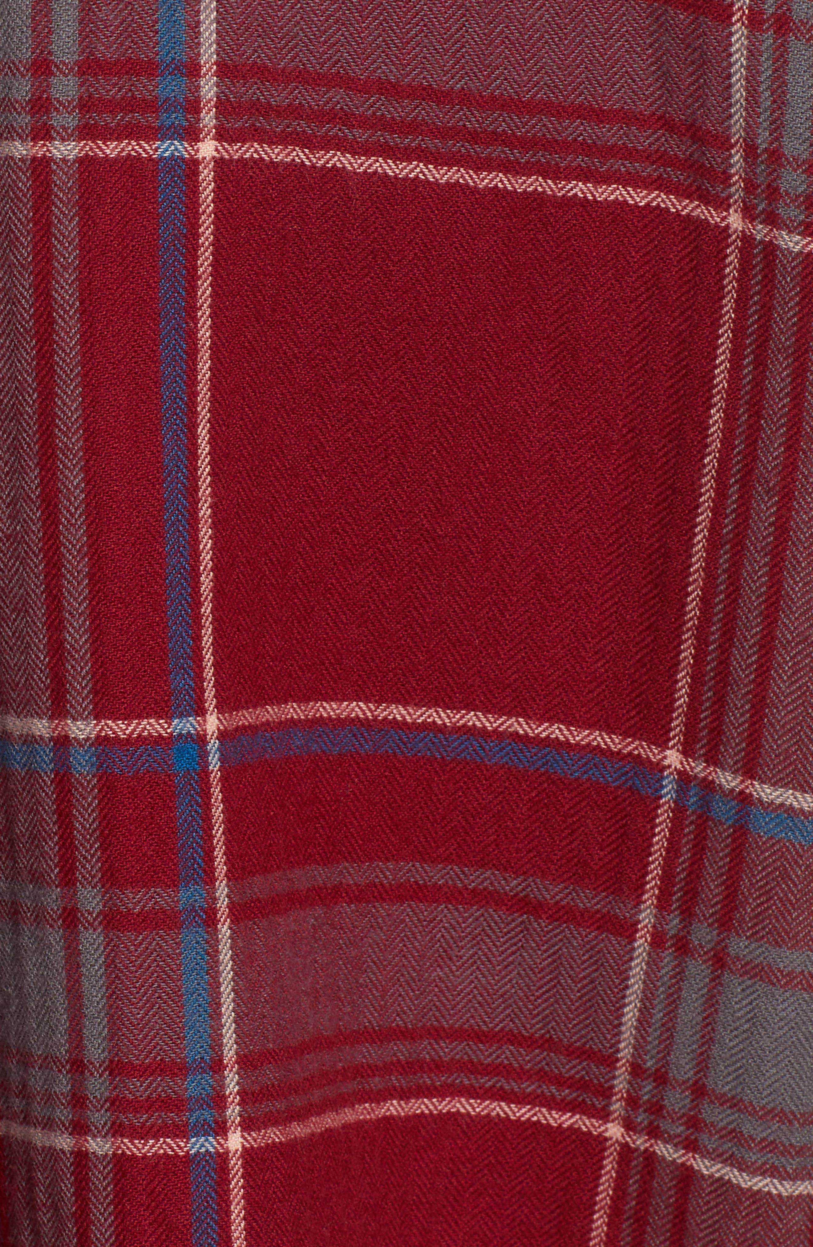 Frayed Edge Plaid Shirt,                             Alternate thumbnail 7, color,                             RED RUMBA NICOLE PLAID