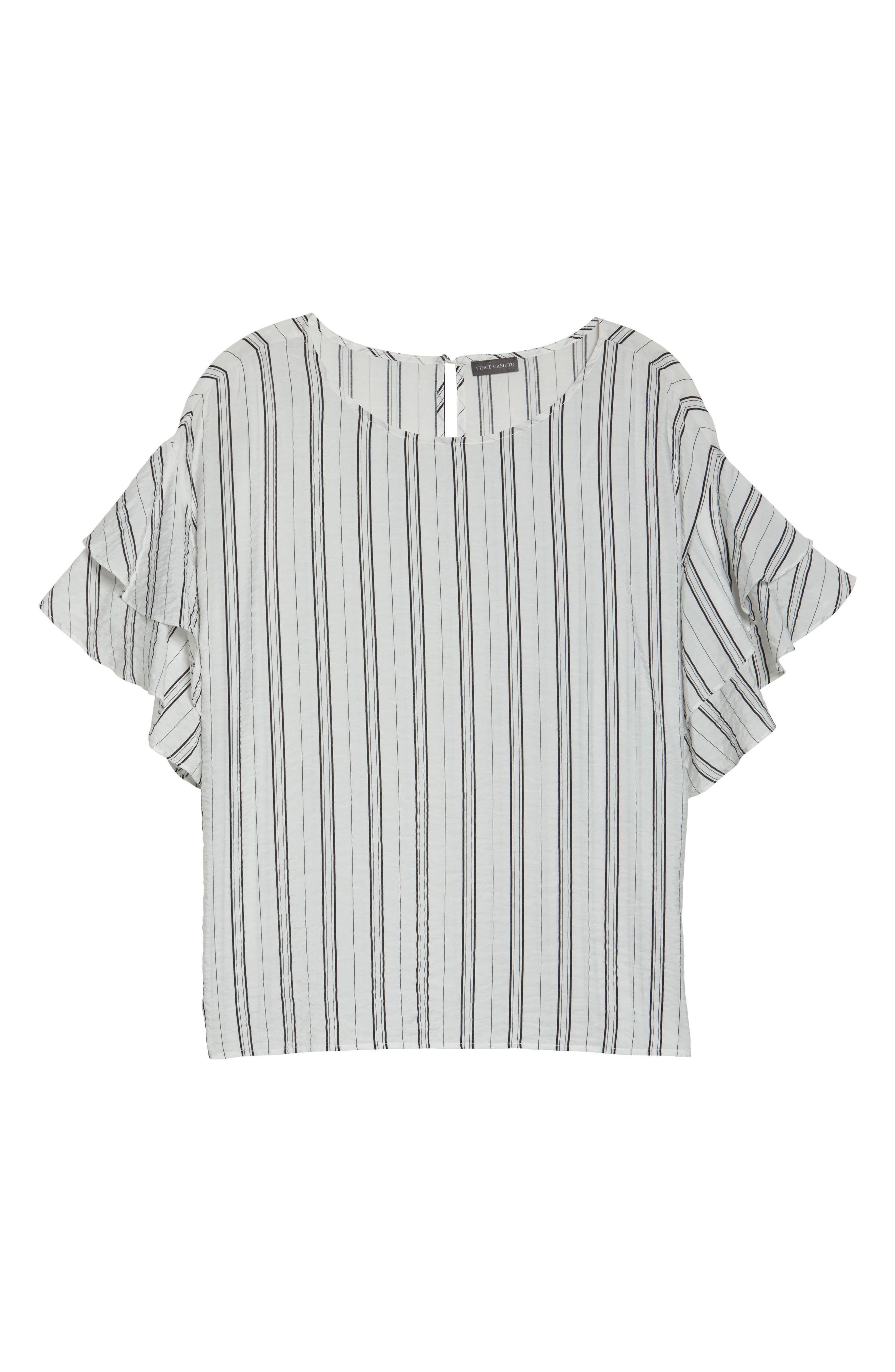 Tiered Ruffle Sleeve Stripe Blouse,                             Alternate thumbnail 6, color,
