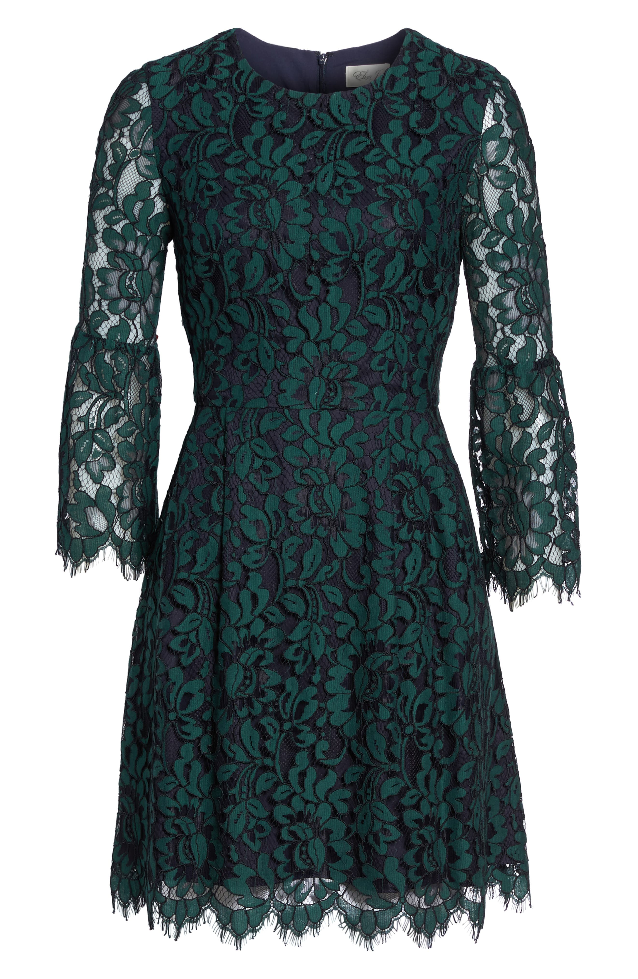 Lace Fit & Flare Dress,                             Alternate thumbnail 6, color,                             301