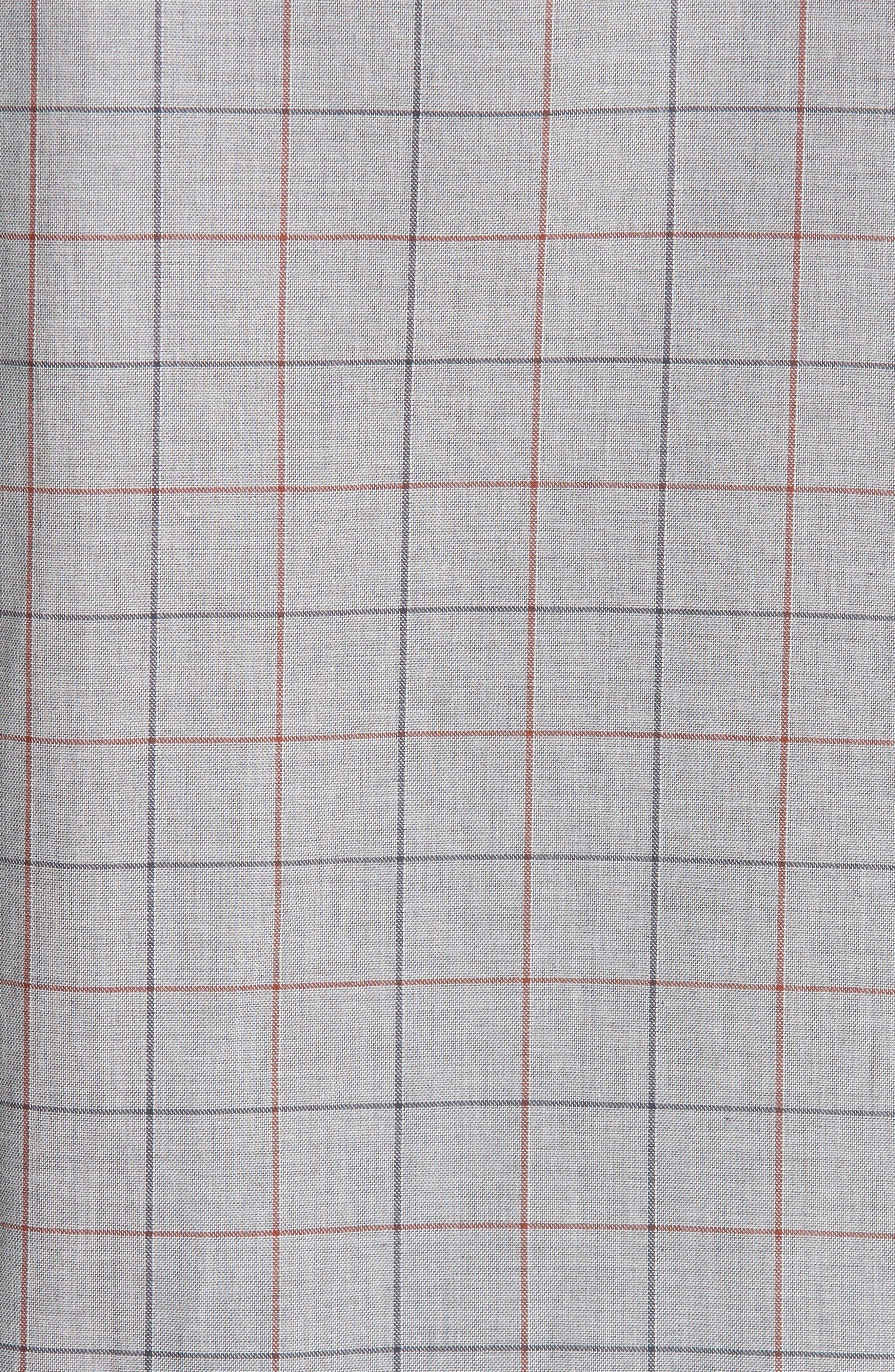 Classic Fit Windowpane Sport Shirt,                             Alternate thumbnail 5, color,                             BROWN