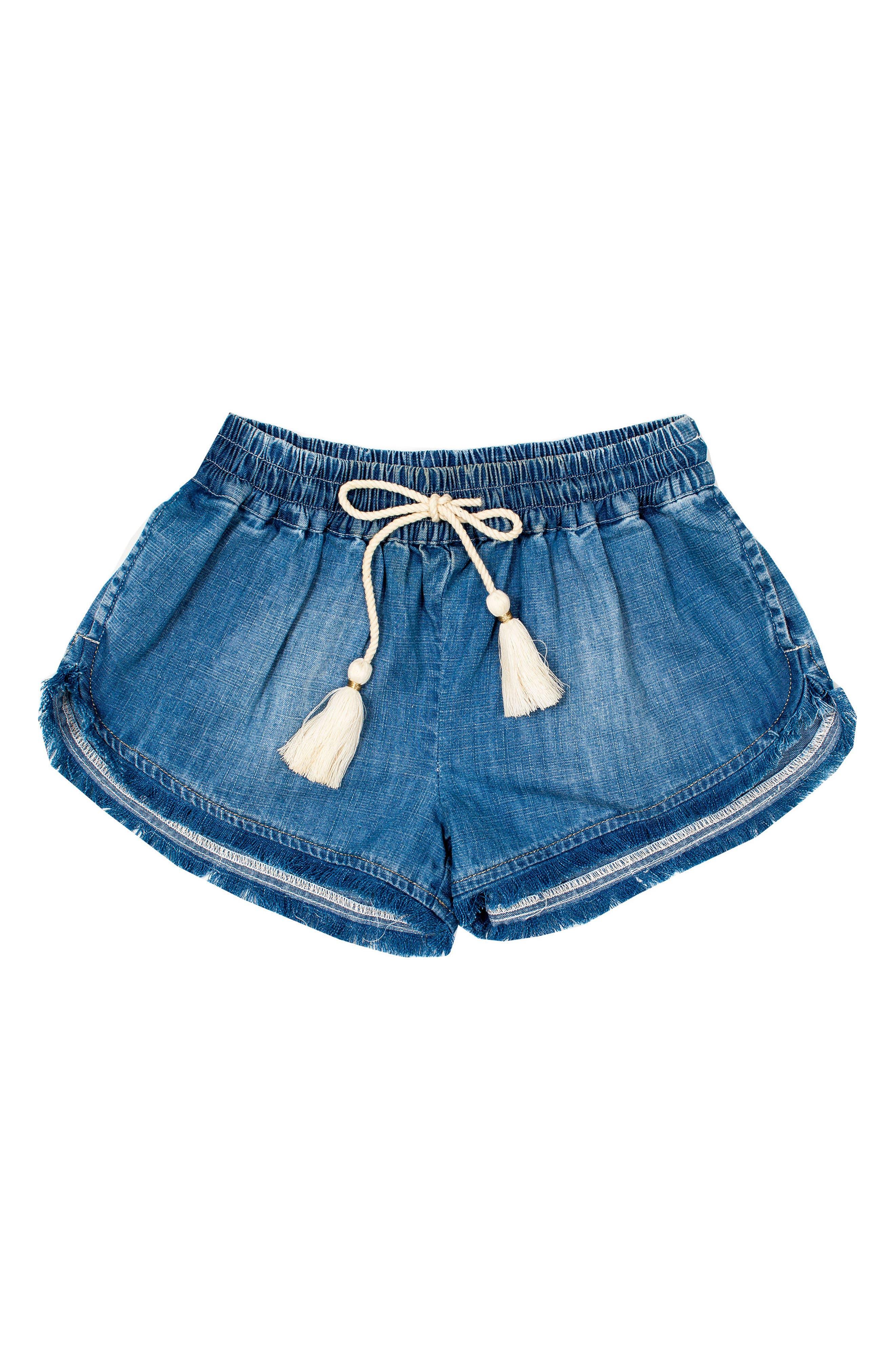 Frayed Denim Shorts,                             Main thumbnail 1, color,                             DENIM