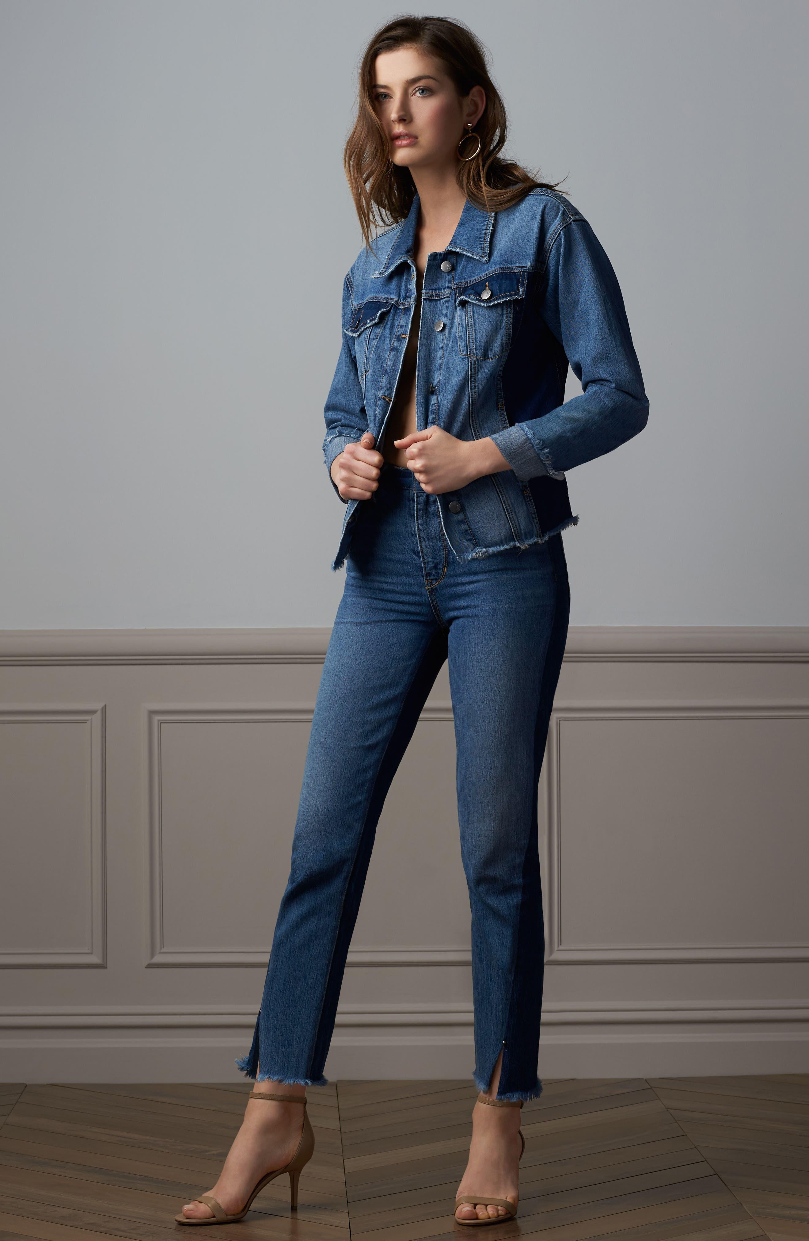 The Mary Jane Fringe Hem Contrast Jeans,                             Alternate thumbnail 7, color,                             410