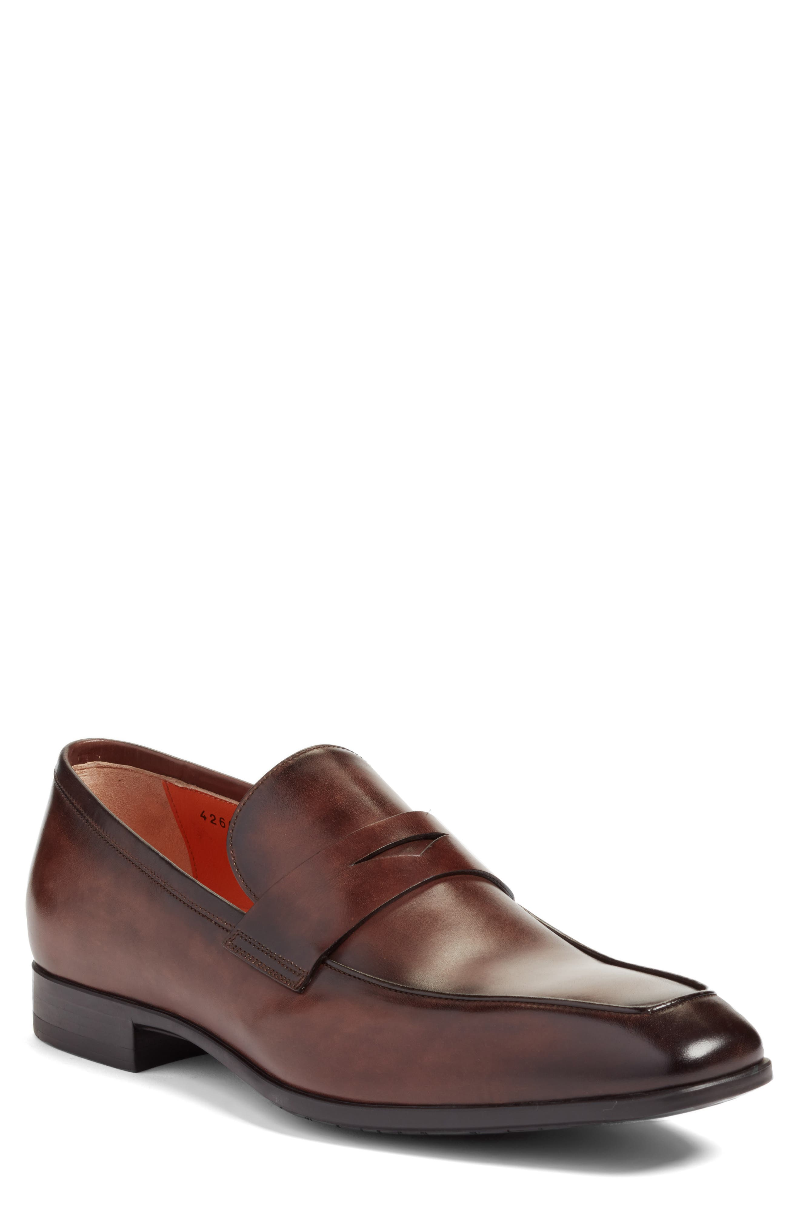 Fisk Square Toe Penny Loafer,                             Main thumbnail 1, color,                             BROWN LEATHER