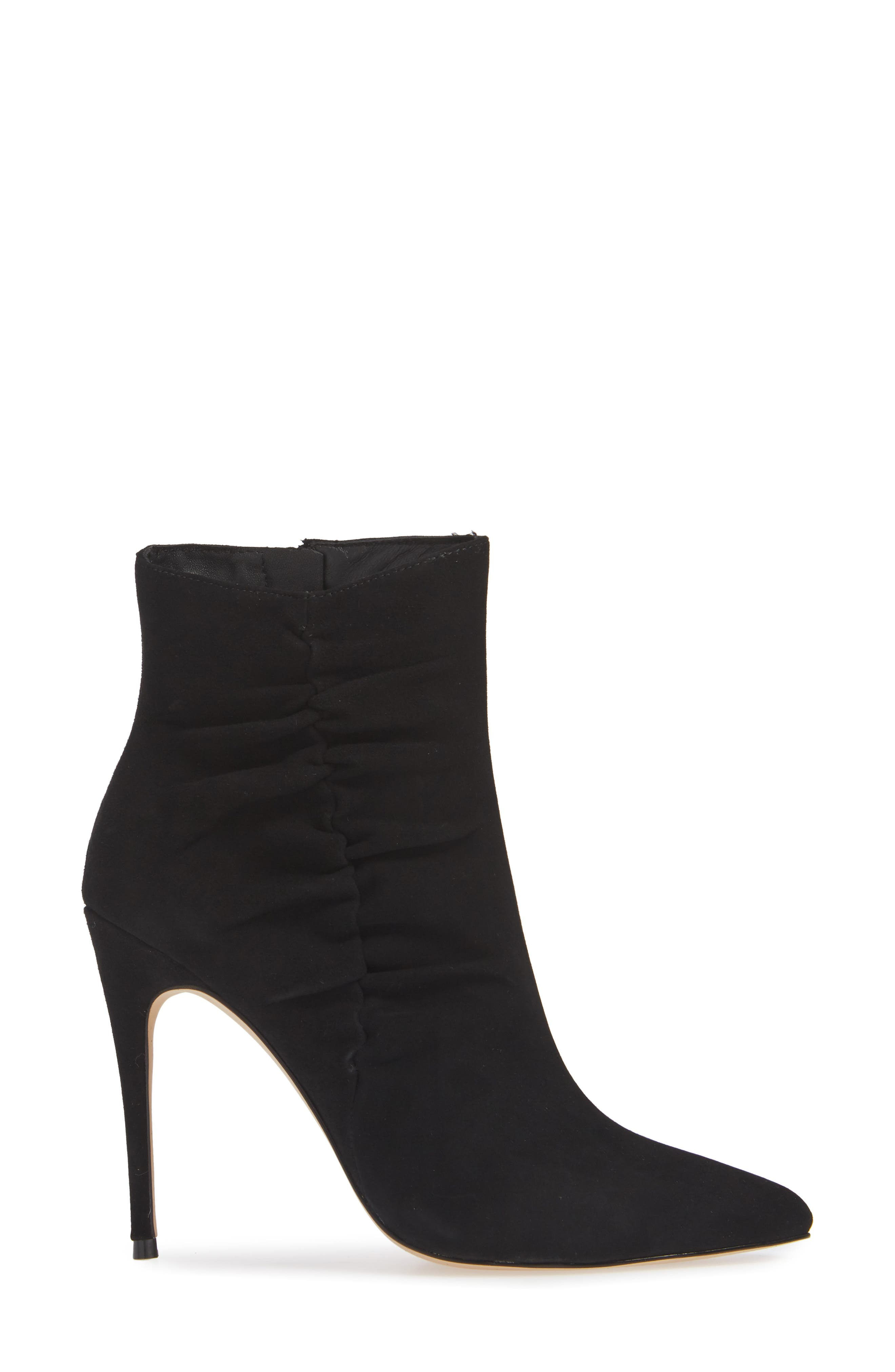 Arianna Ruched Bootie,                             Alternate thumbnail 3, color,                             BLACK SUEDE