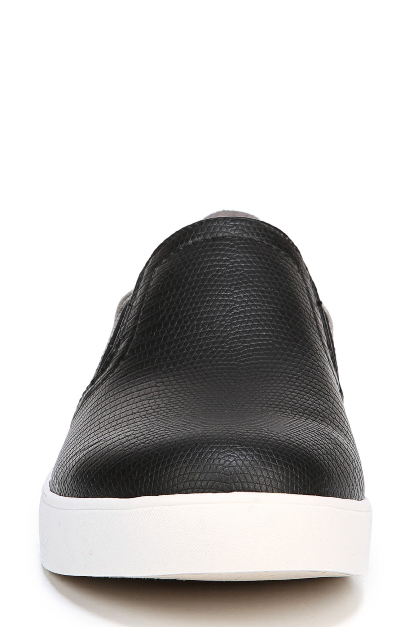 Madison Slip-On Sneaker,                             Alternate thumbnail 3, color,                             BLACK FAUX LEATHER